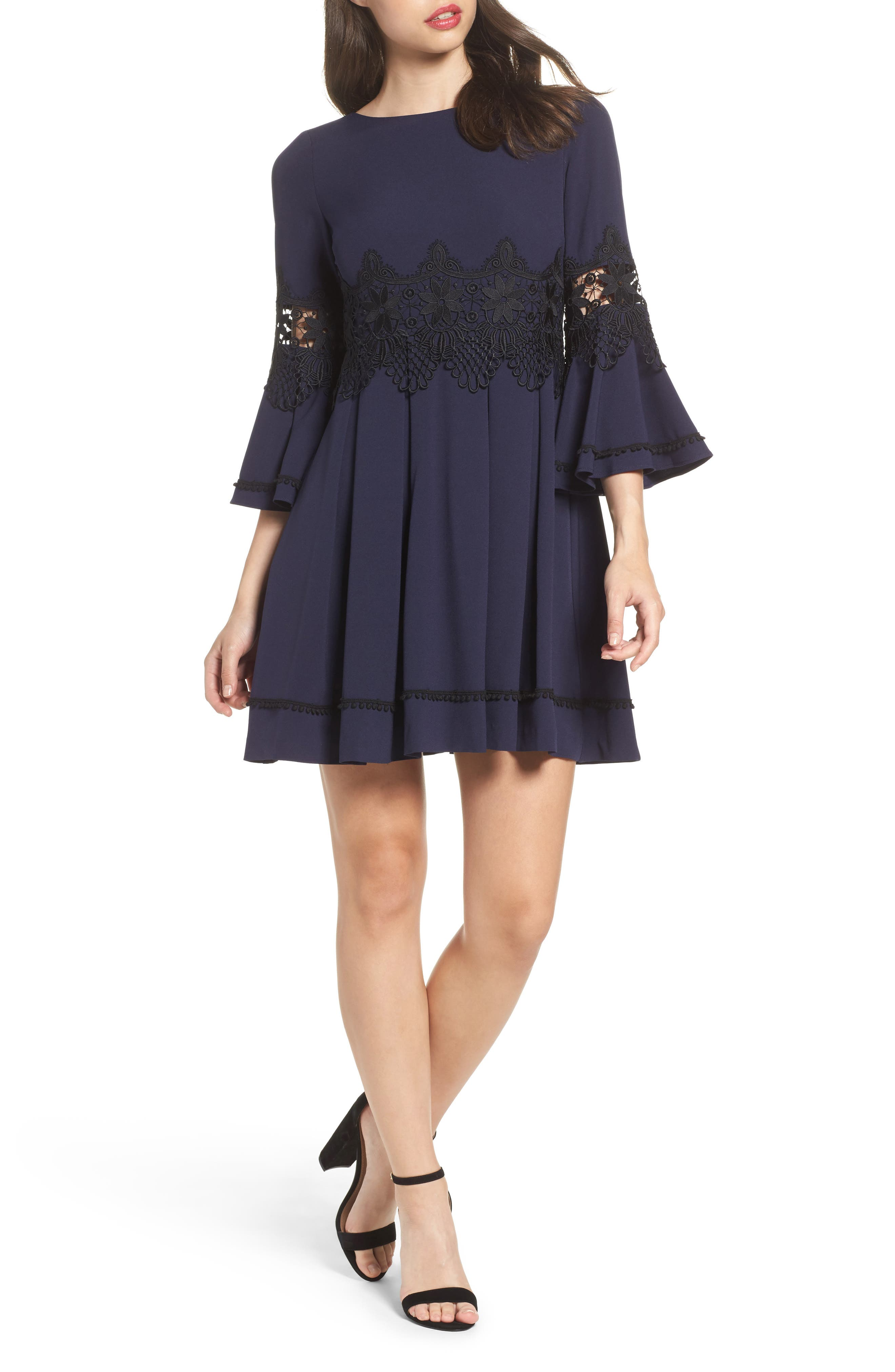 Lace Detail A-Line Dress,                         Main,                         color, Navy/ Black