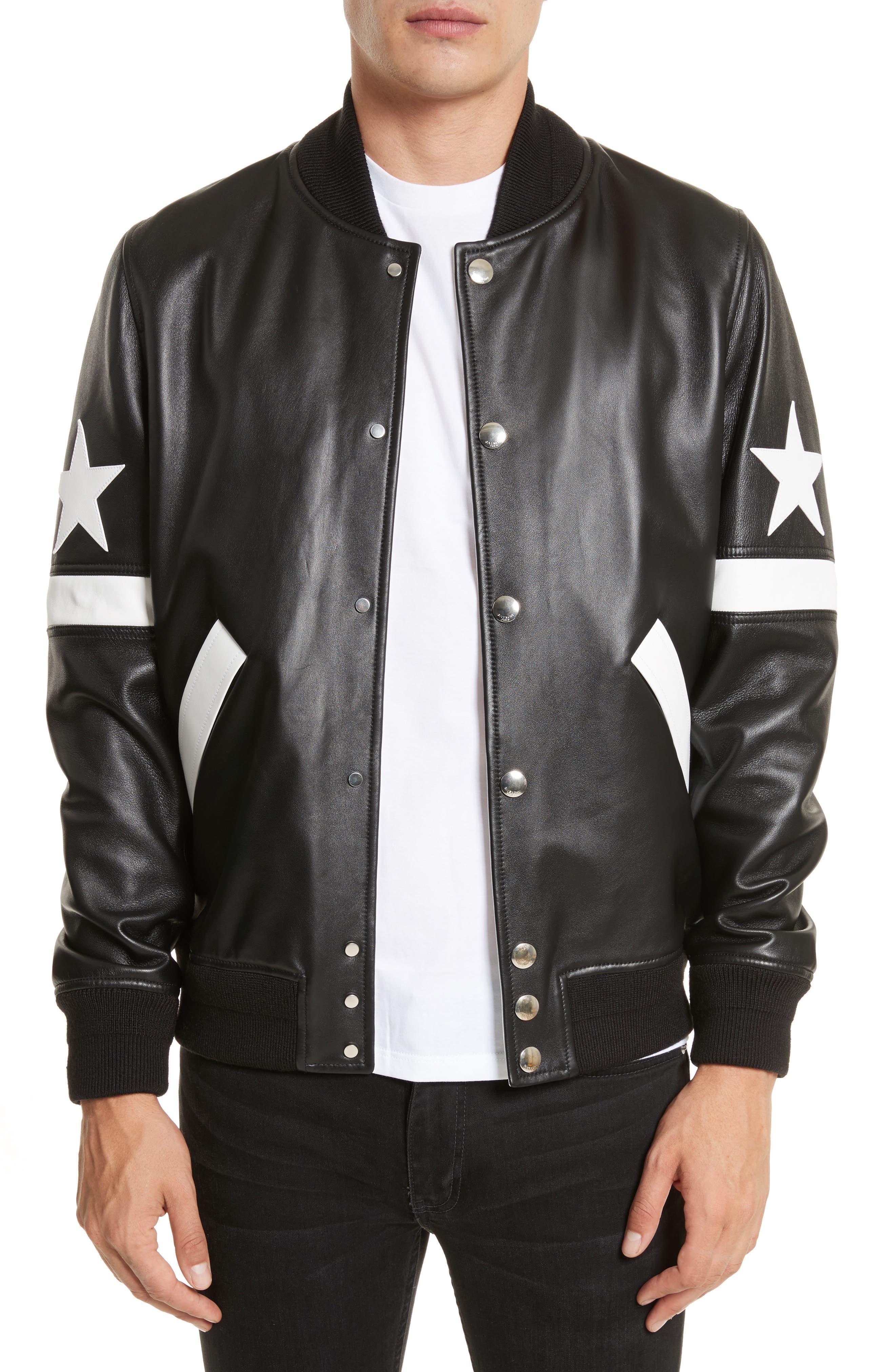 Leather Bomber Jacket,                             Main thumbnail 1, color,                             Black
