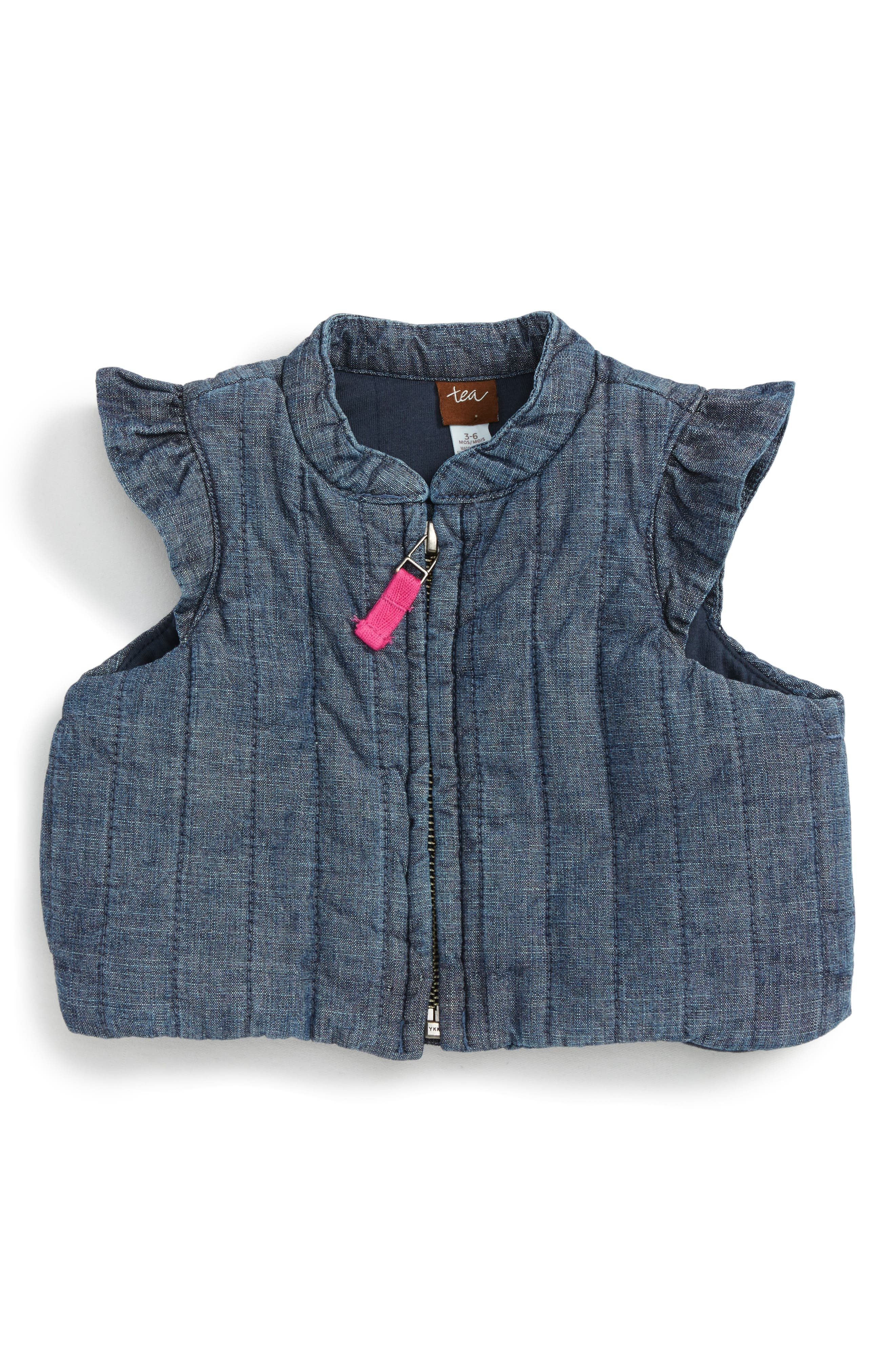 Main Image - Tea Collection Citizen Chambray Vest (Baby Girls)