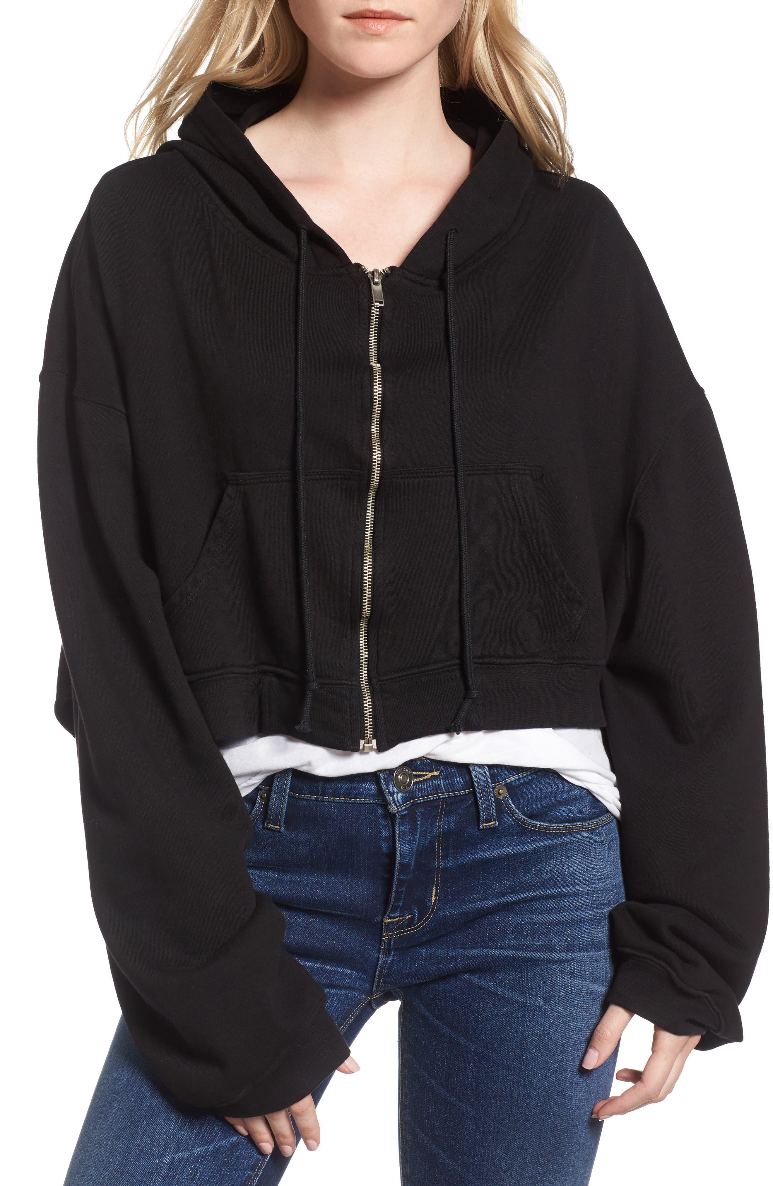 Crop Zip Hoodie,                         Main,                         color, Black