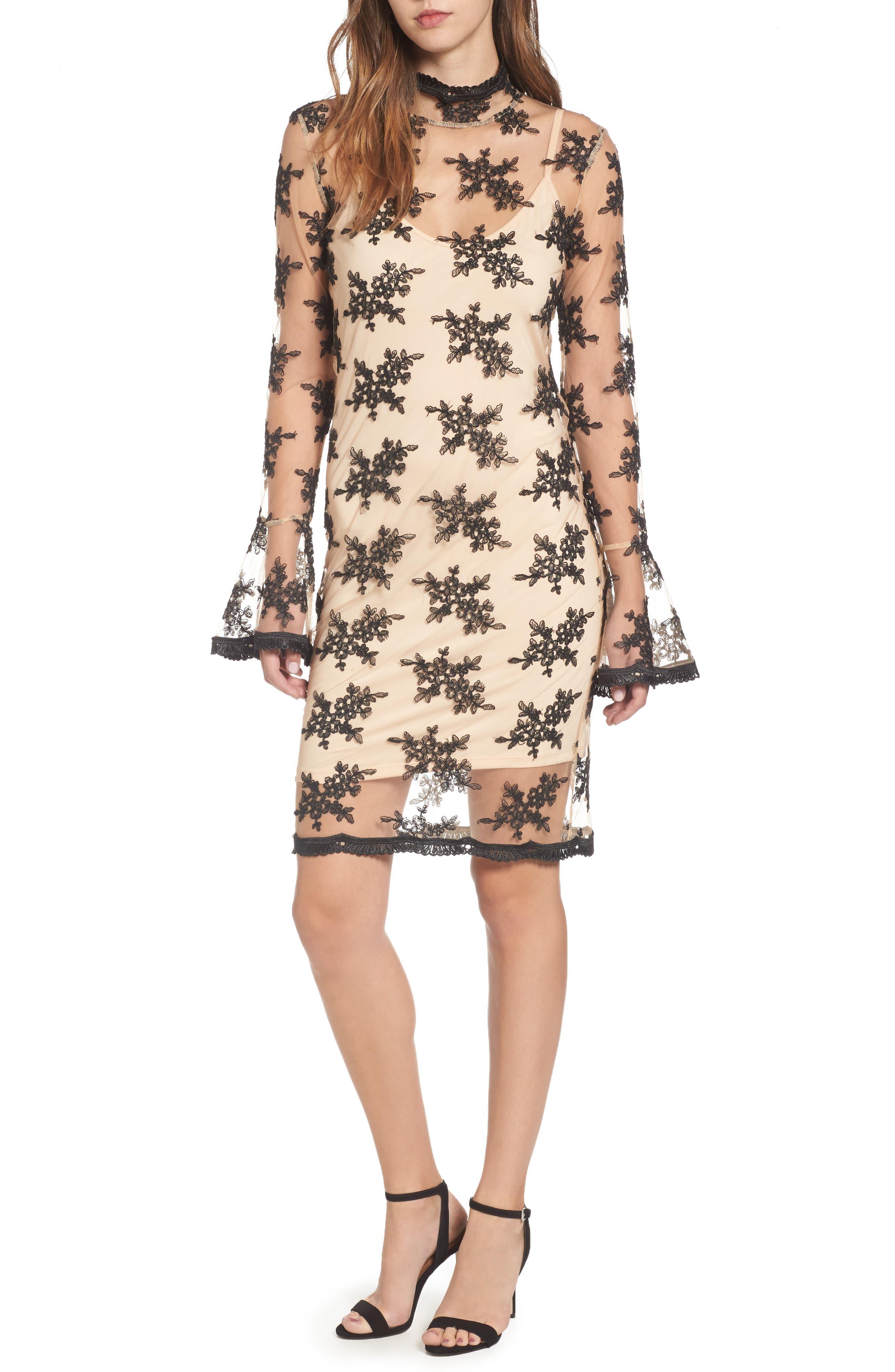 Desh Embroidered Dress,                             Main thumbnail 1, color,                             Black
