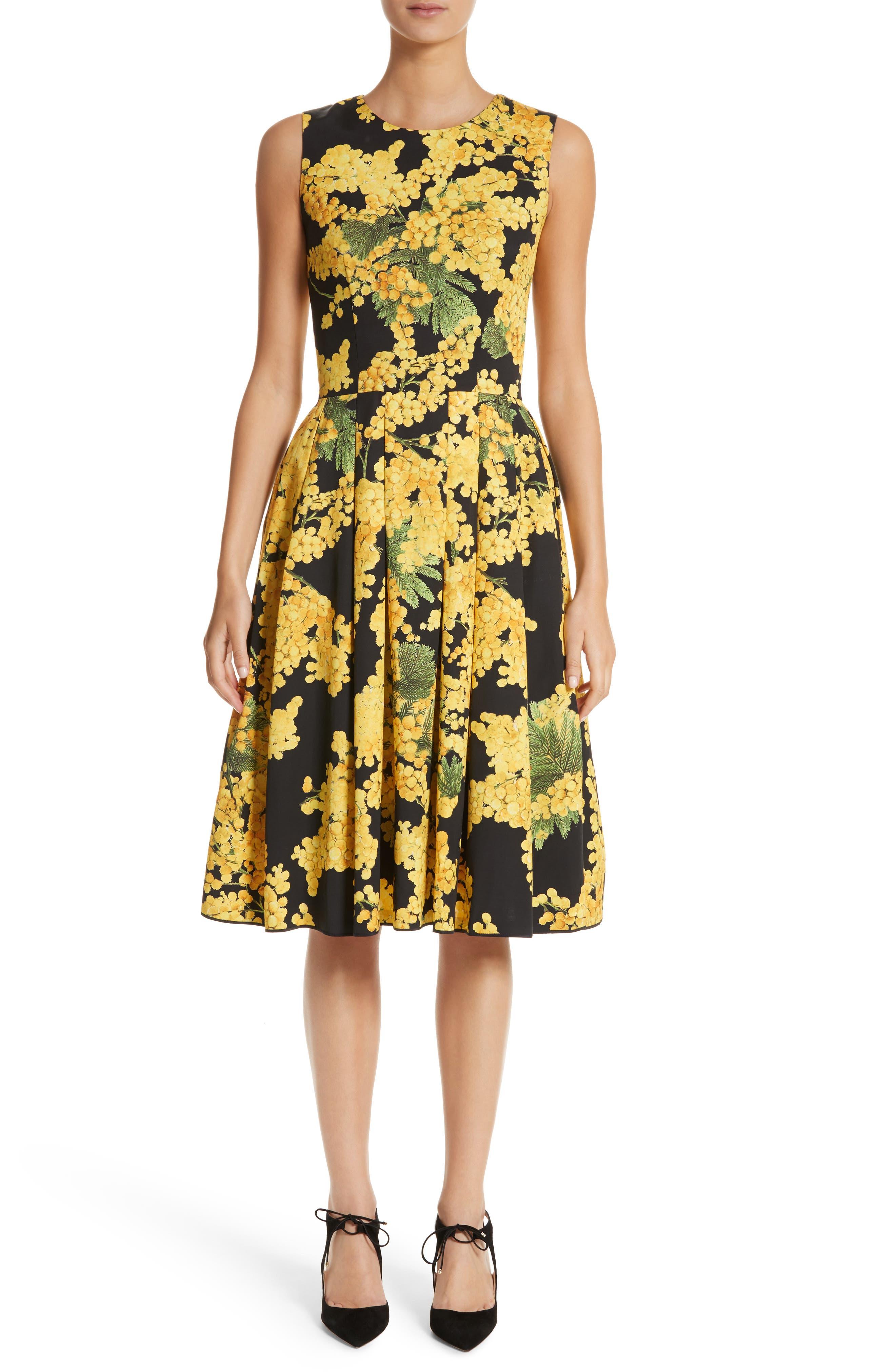 Floral Print Faille Day Dress,                             Main thumbnail 1, color,                             Freesia Yellow/Black