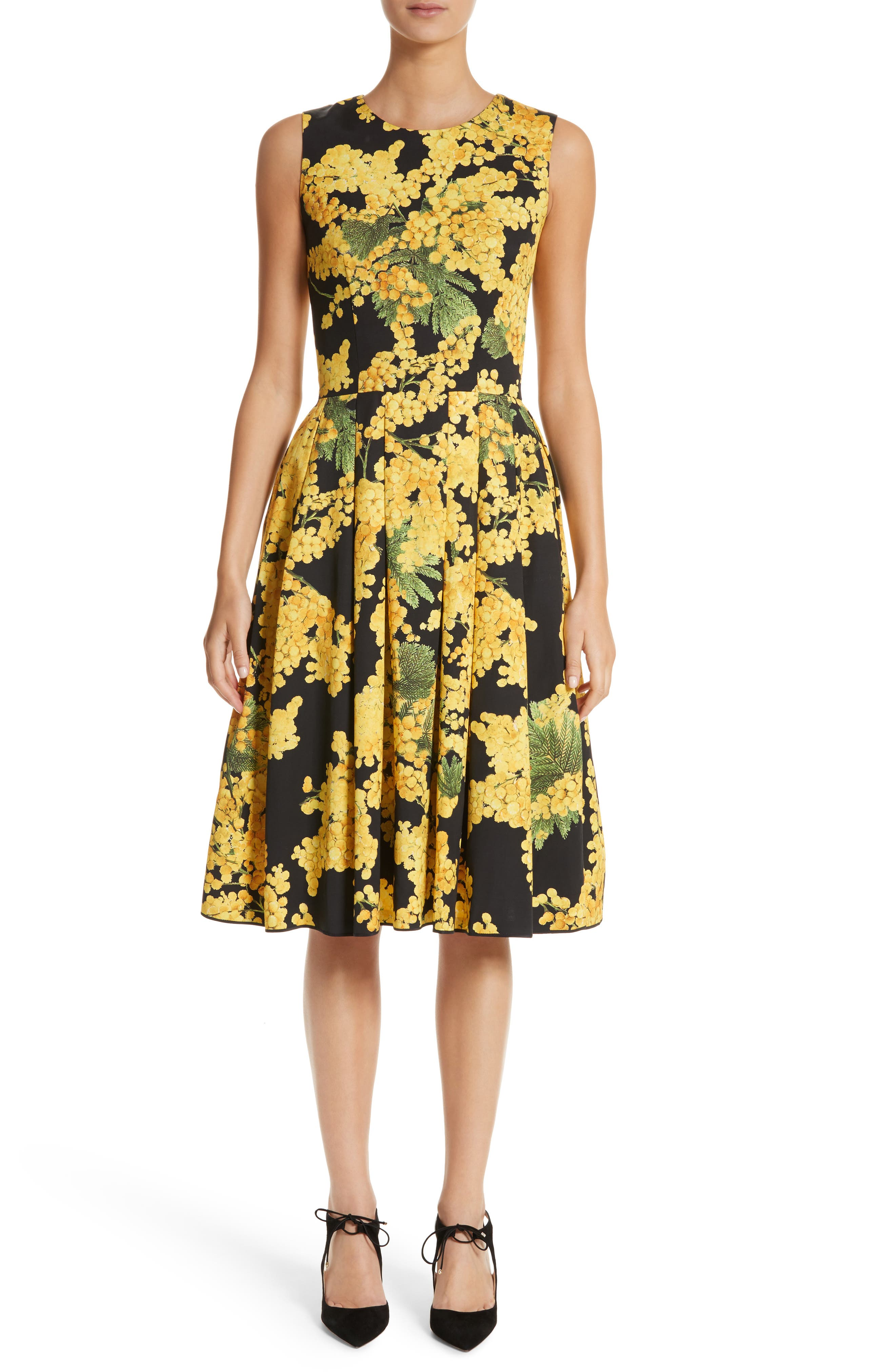 Floral Print Faille Day Dress,                         Main,                         color, Freesia Yellow/Black