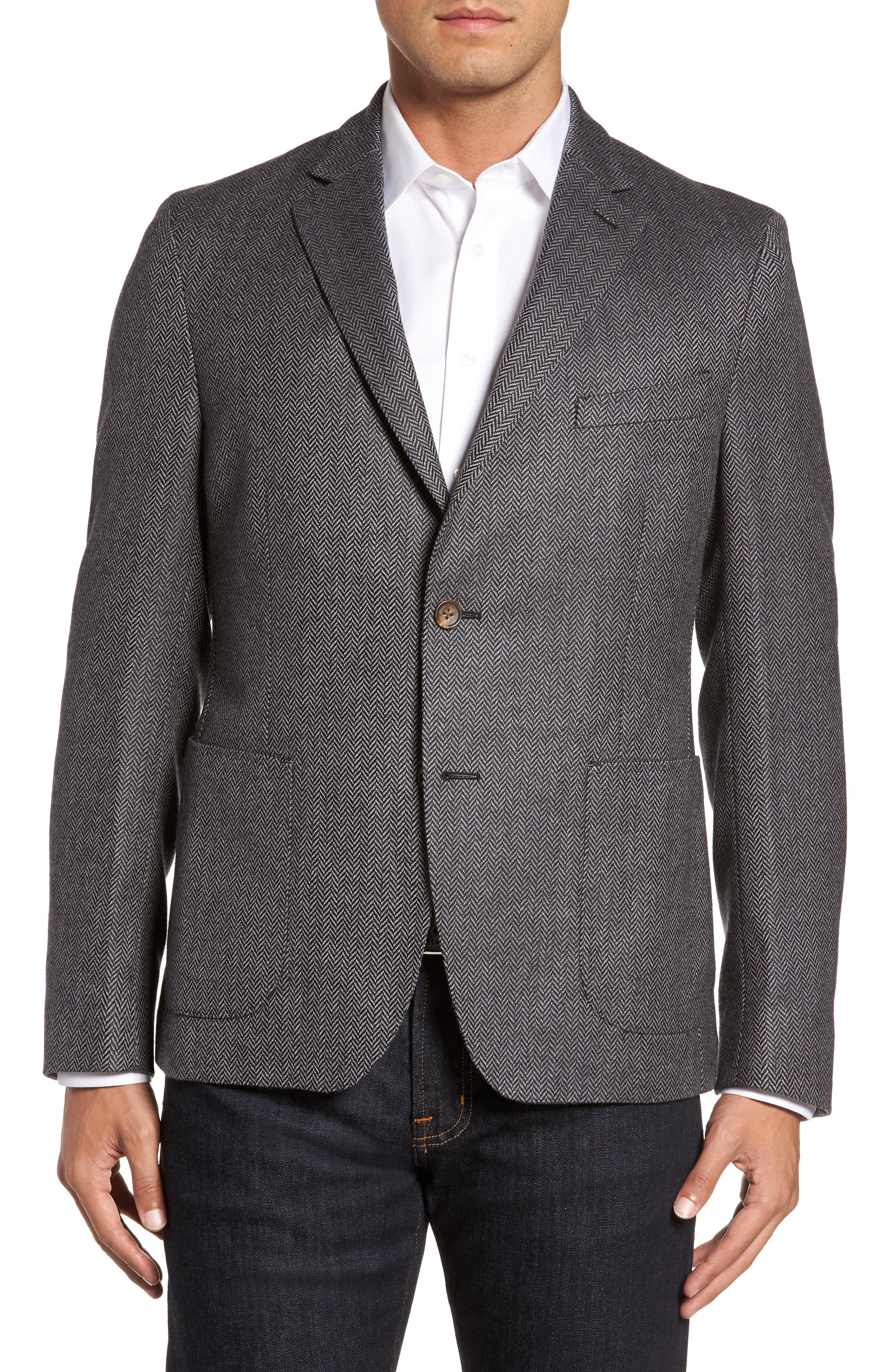 Classic Fit Herringbone Wool & Cashmere Jersey Sport Coat,                         Main,                         color, Charcoal