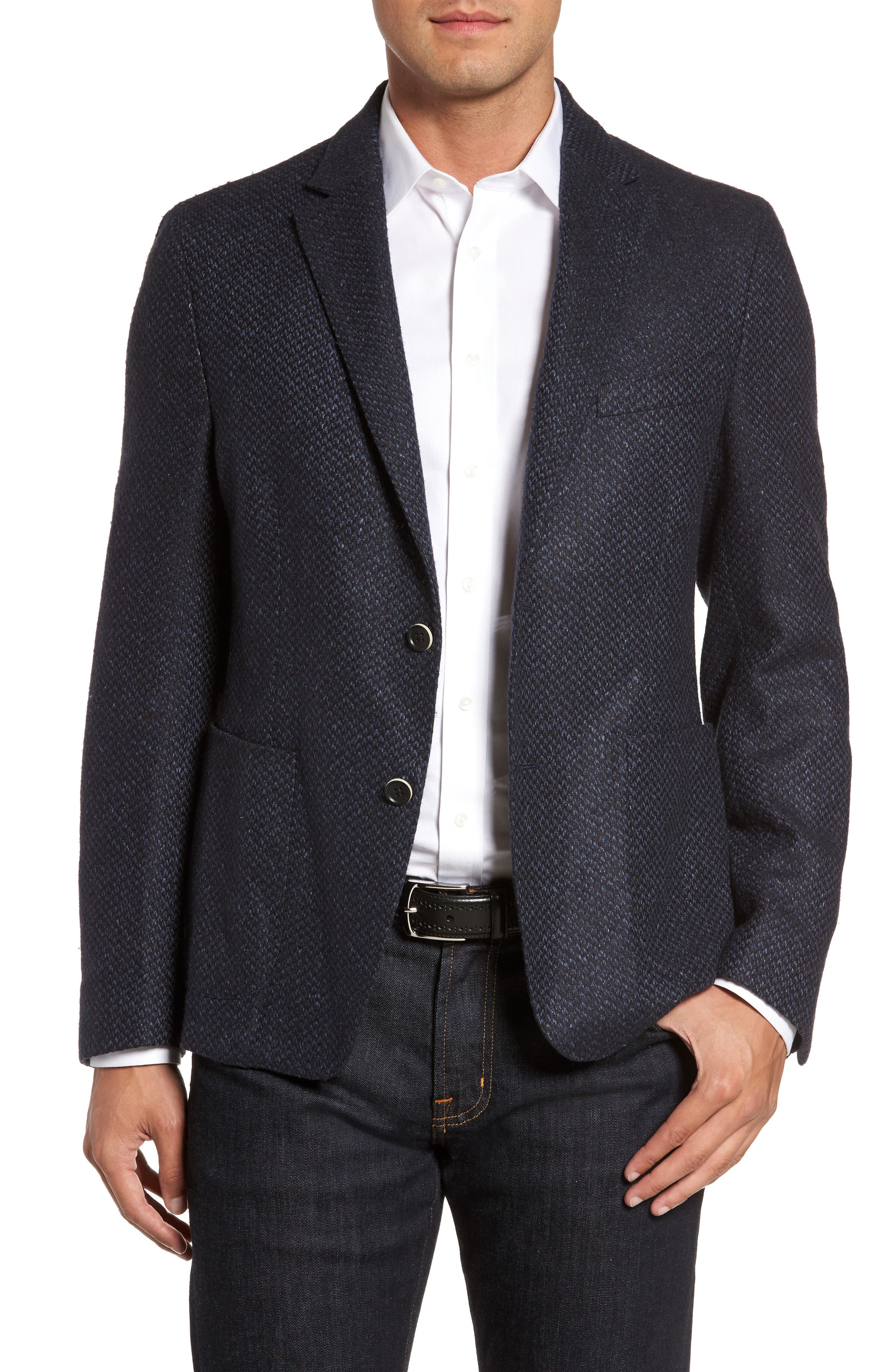 Woven Wool & Silk Blend Sport Coat,                         Main,                         color, Blue/ Black