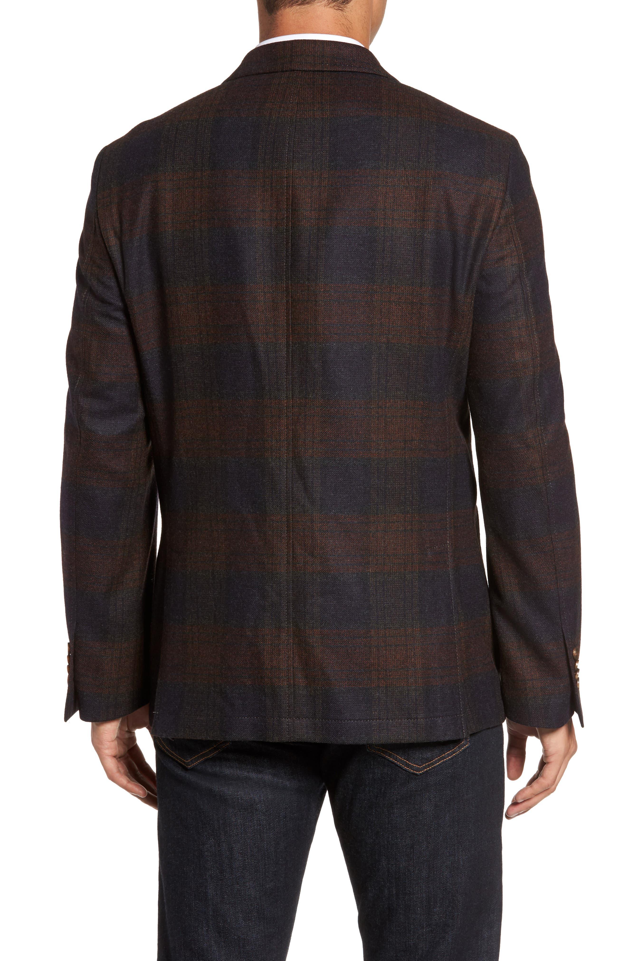 Plaid Wool Sport Coat,                             Alternate thumbnail 2, color,                             Charcoal