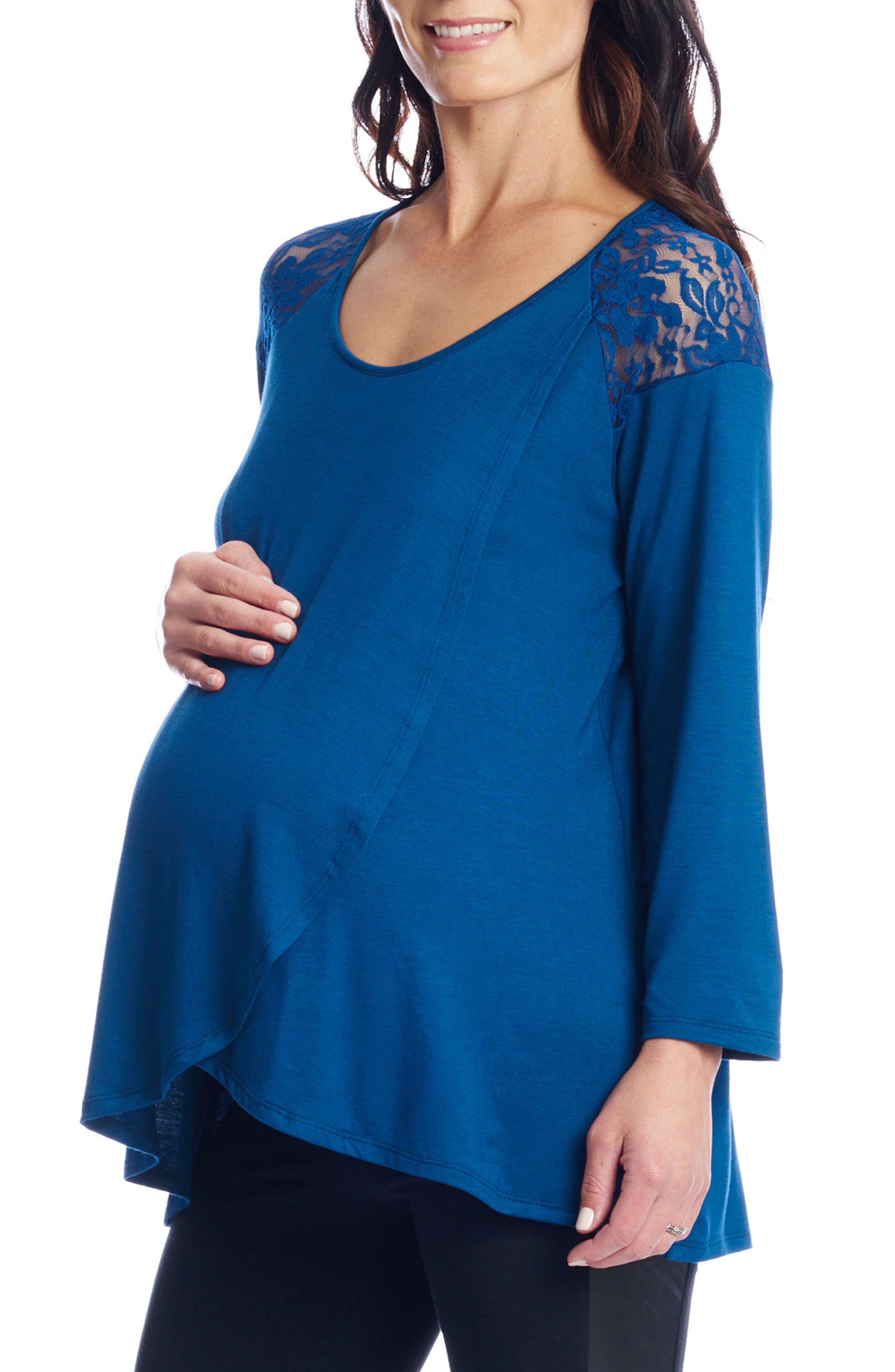 Alternate Image 4  - Everly Grey Aaliyah Wrap Front Maternity/Nursing Top