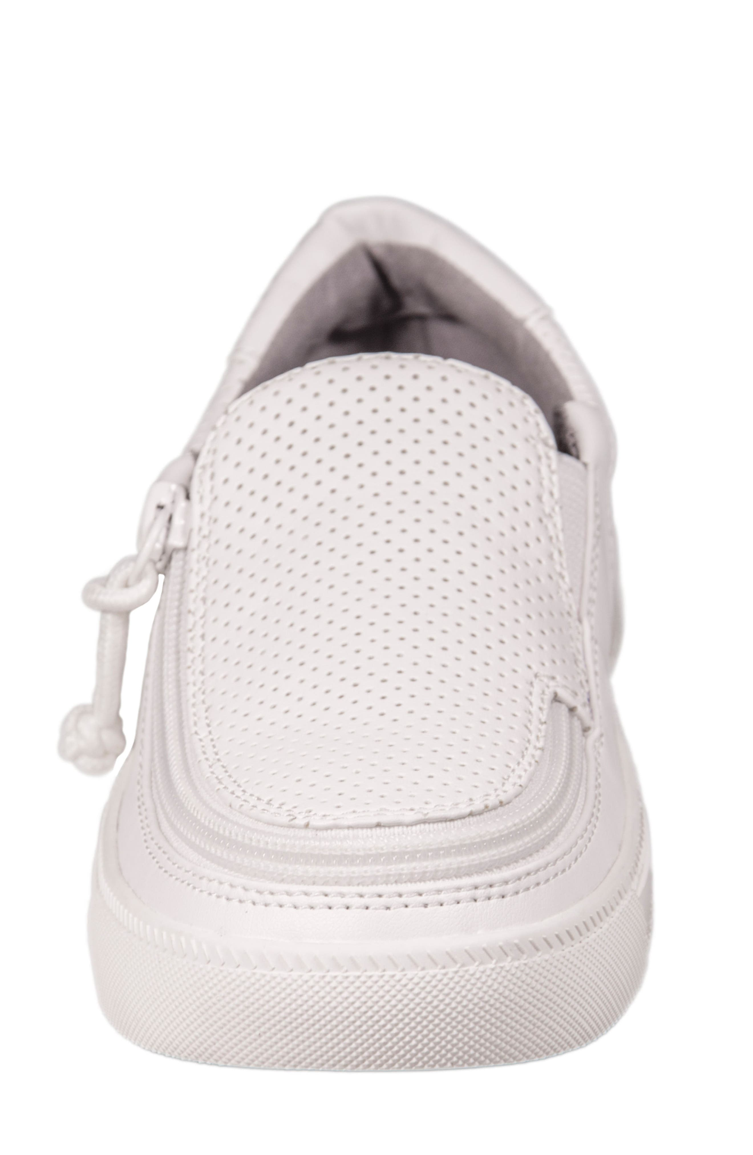 Zip Around Perforated Low Top Sneaker,                             Alternate thumbnail 3, color,                             White Perforated