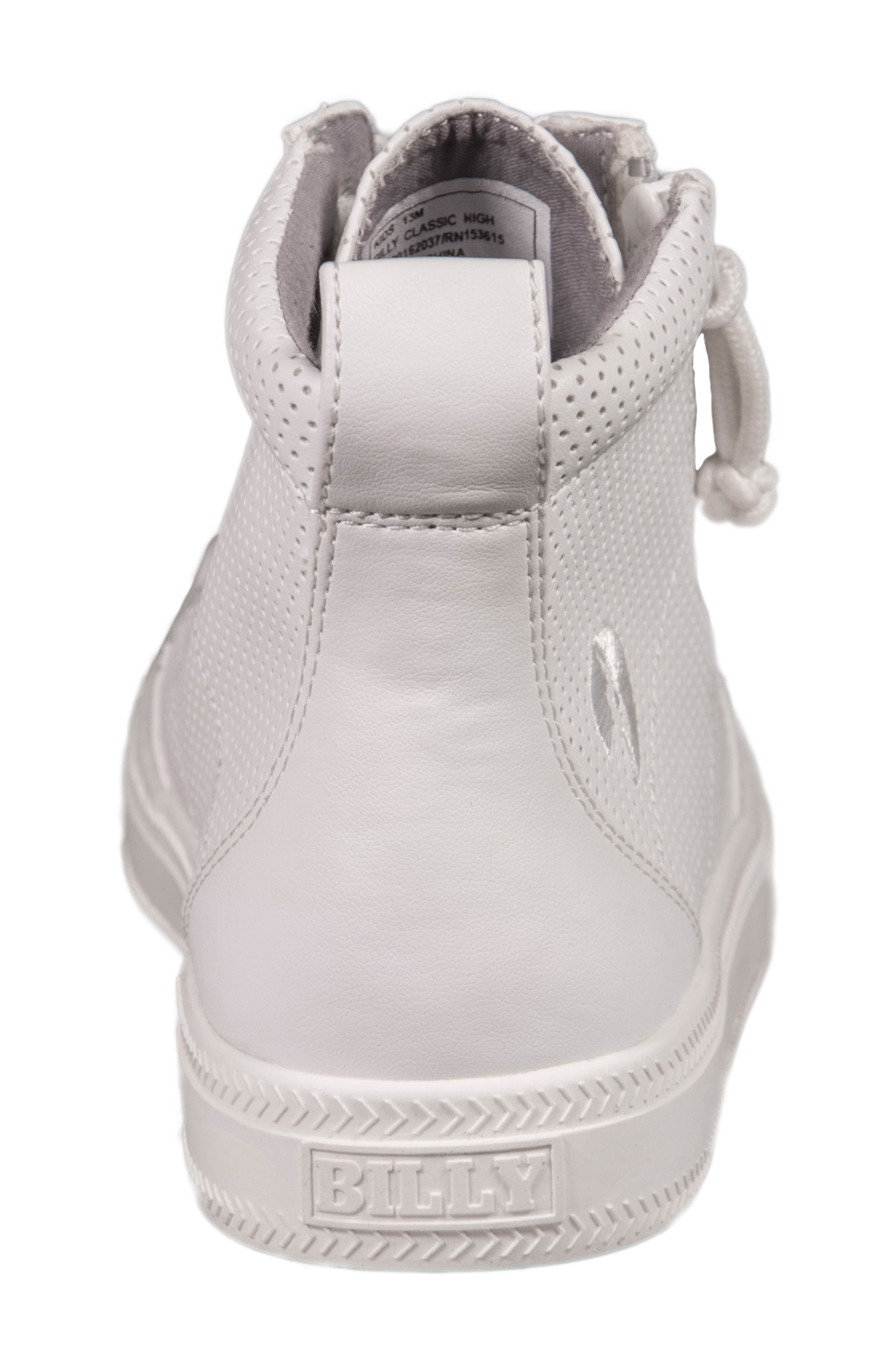 Zip Around Perforated High Top Sneaker,                             Alternate thumbnail 7, color,                             White Perforated