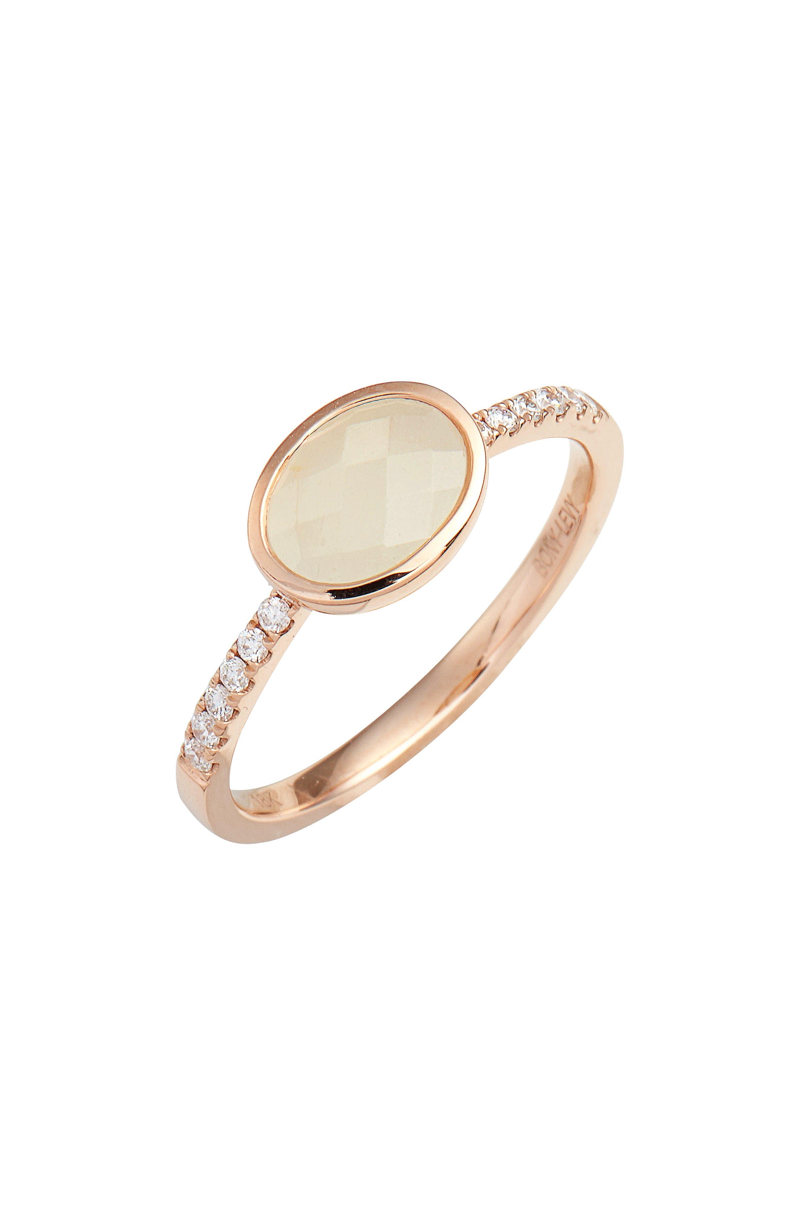 Iris Semiprecious Stone & Diamond Ring,                             Main thumbnail 1, color,                             Rose Gold/ Milky Aqua