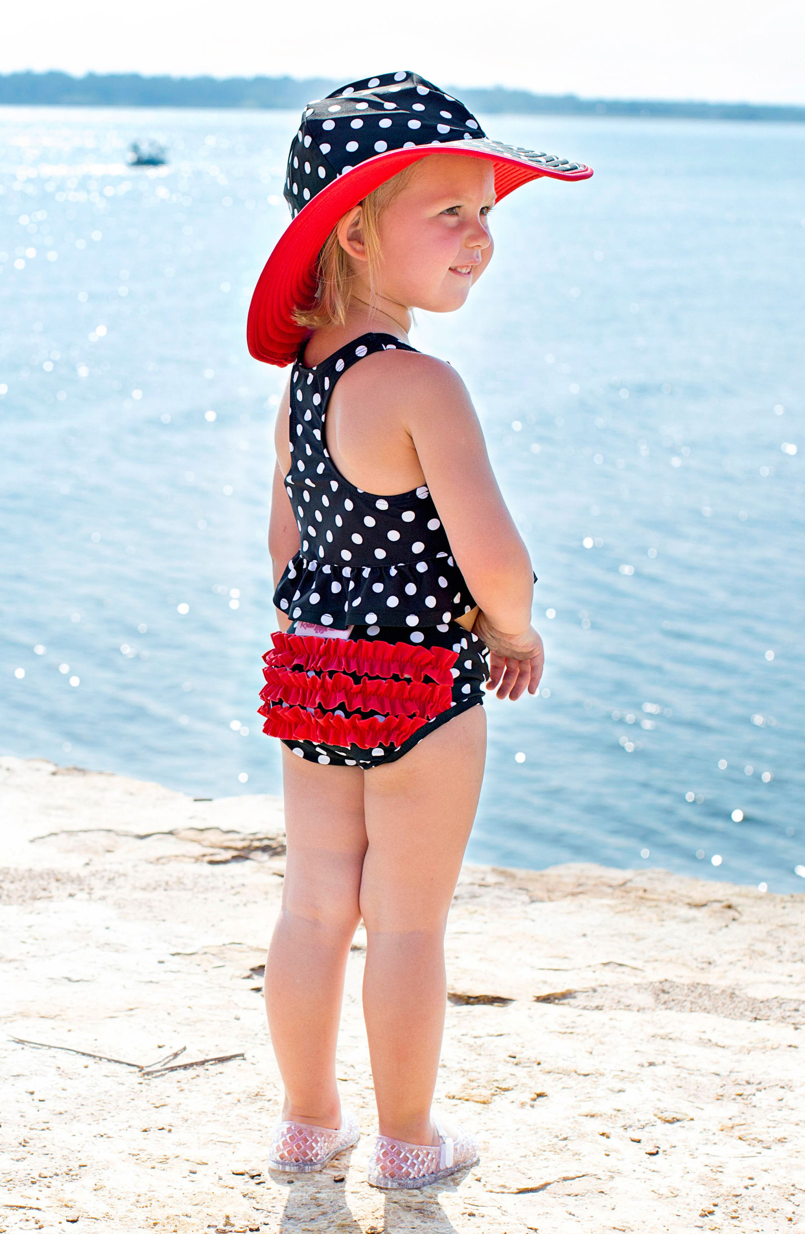 Alternate Image 4  - RuffleButts Two-Piece Tankini & Hat Set (Baby Girls)