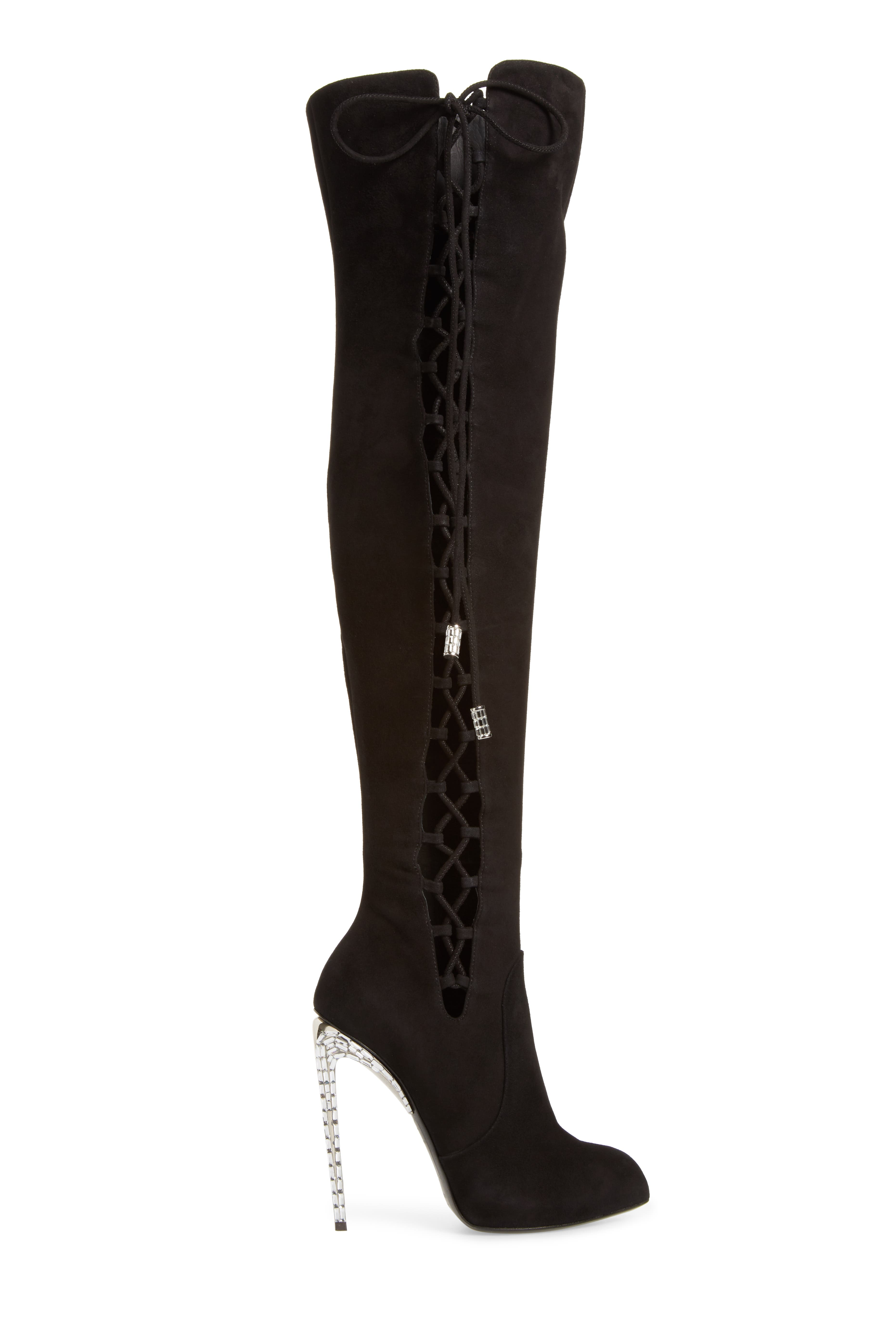Giuseppe for Jennifer Lopez Lace-Up Over the Knee Boot,                             Alternate thumbnail 3, color,                             Black