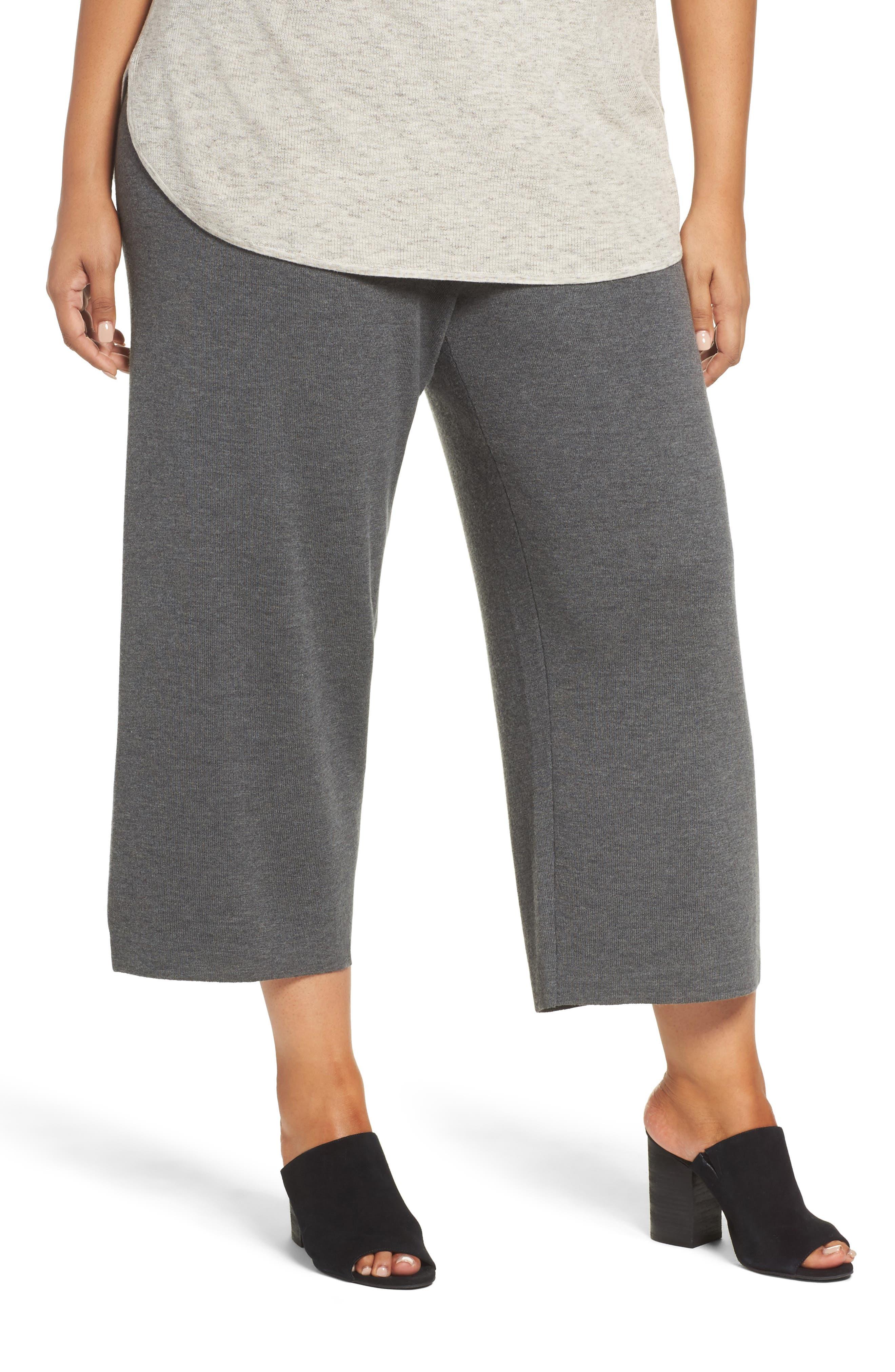 Eileen Fisher Wide Leg Crop Wool Pants (Plus Size)