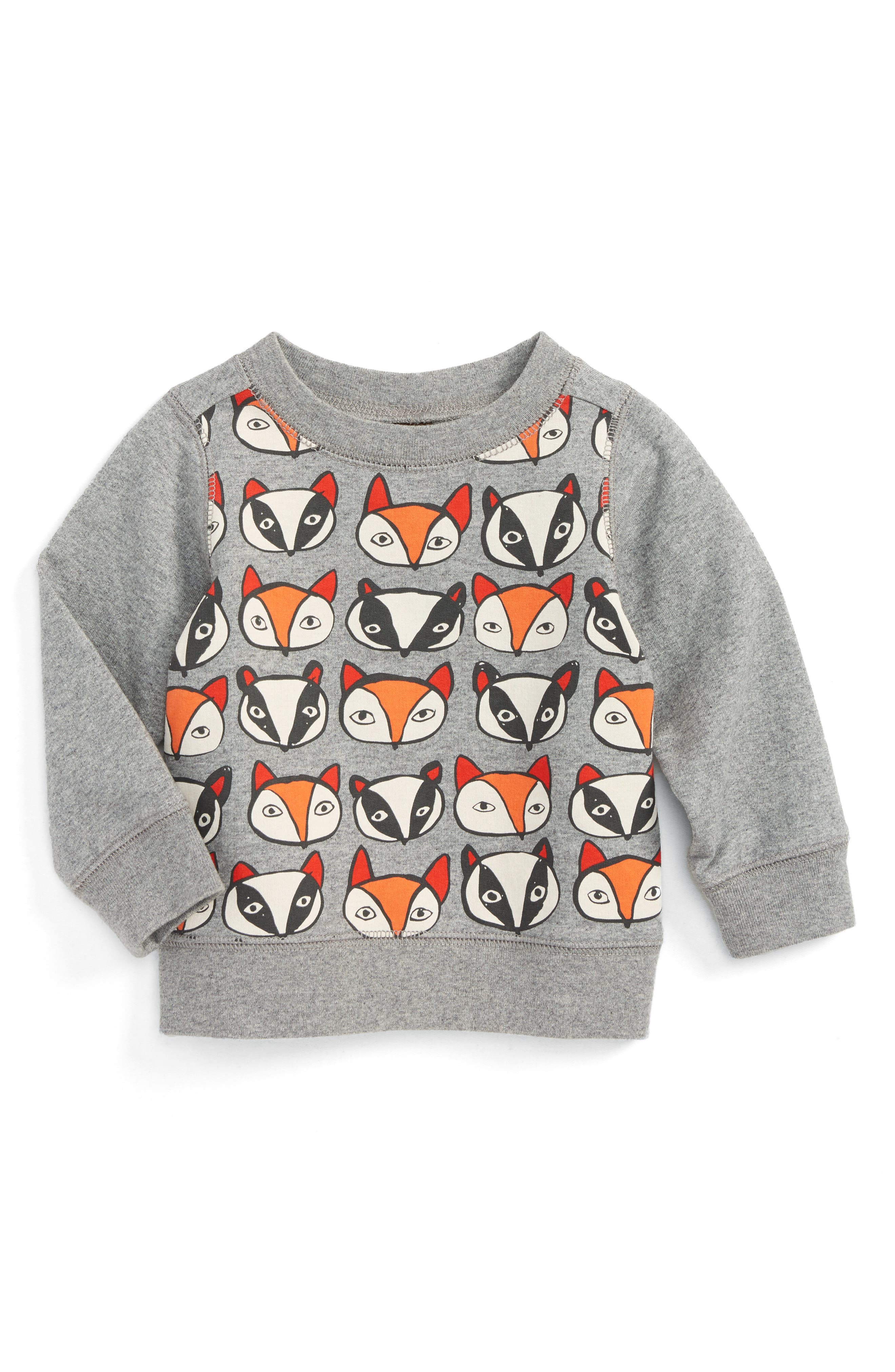 Main Image - Tea Collection Fox & Badger Print Sweater (Baby Boys)