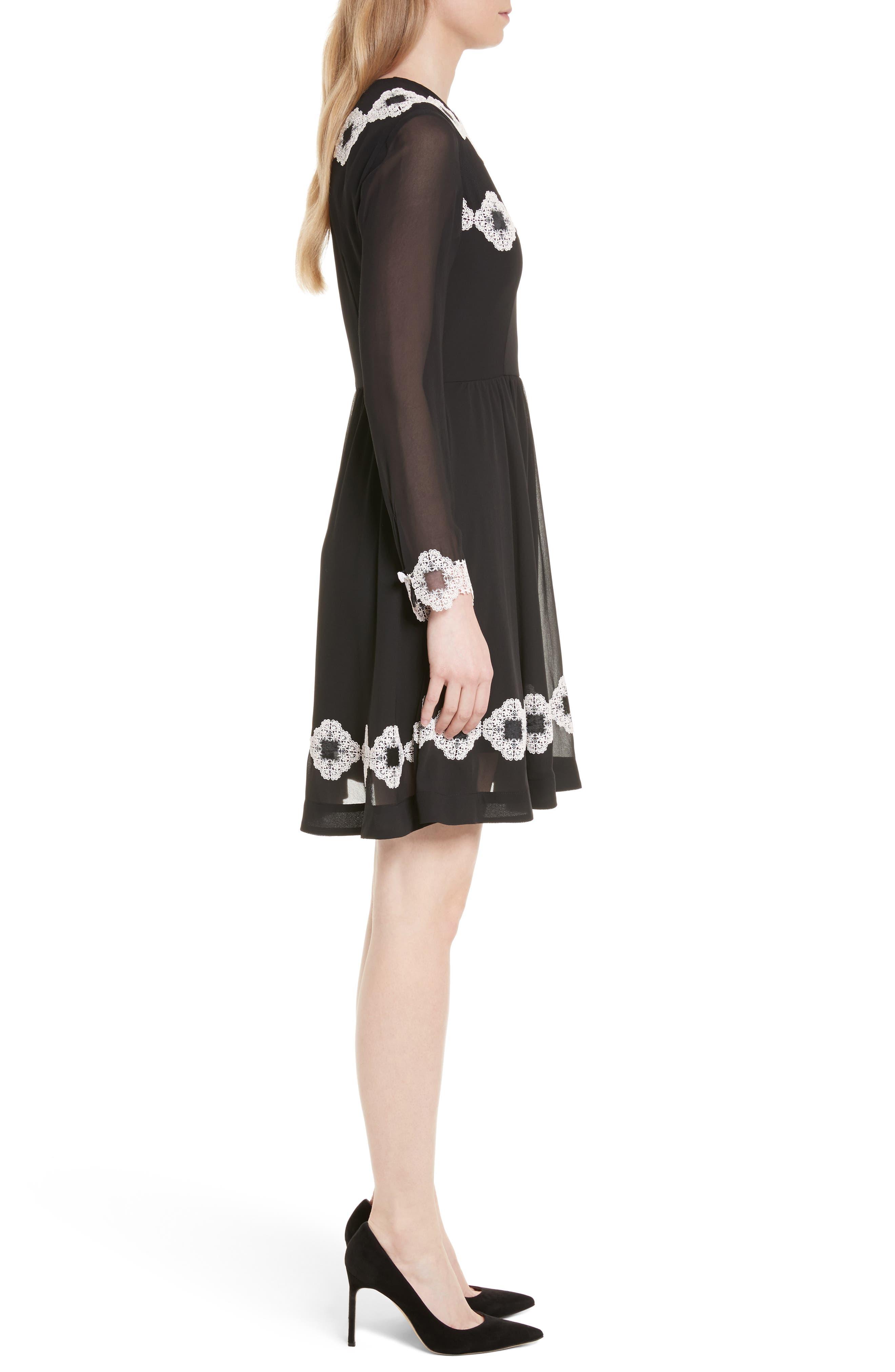 Avianah Lace Trim Fit & Flare Dress,                             Alternate thumbnail 3, color,                             Black
