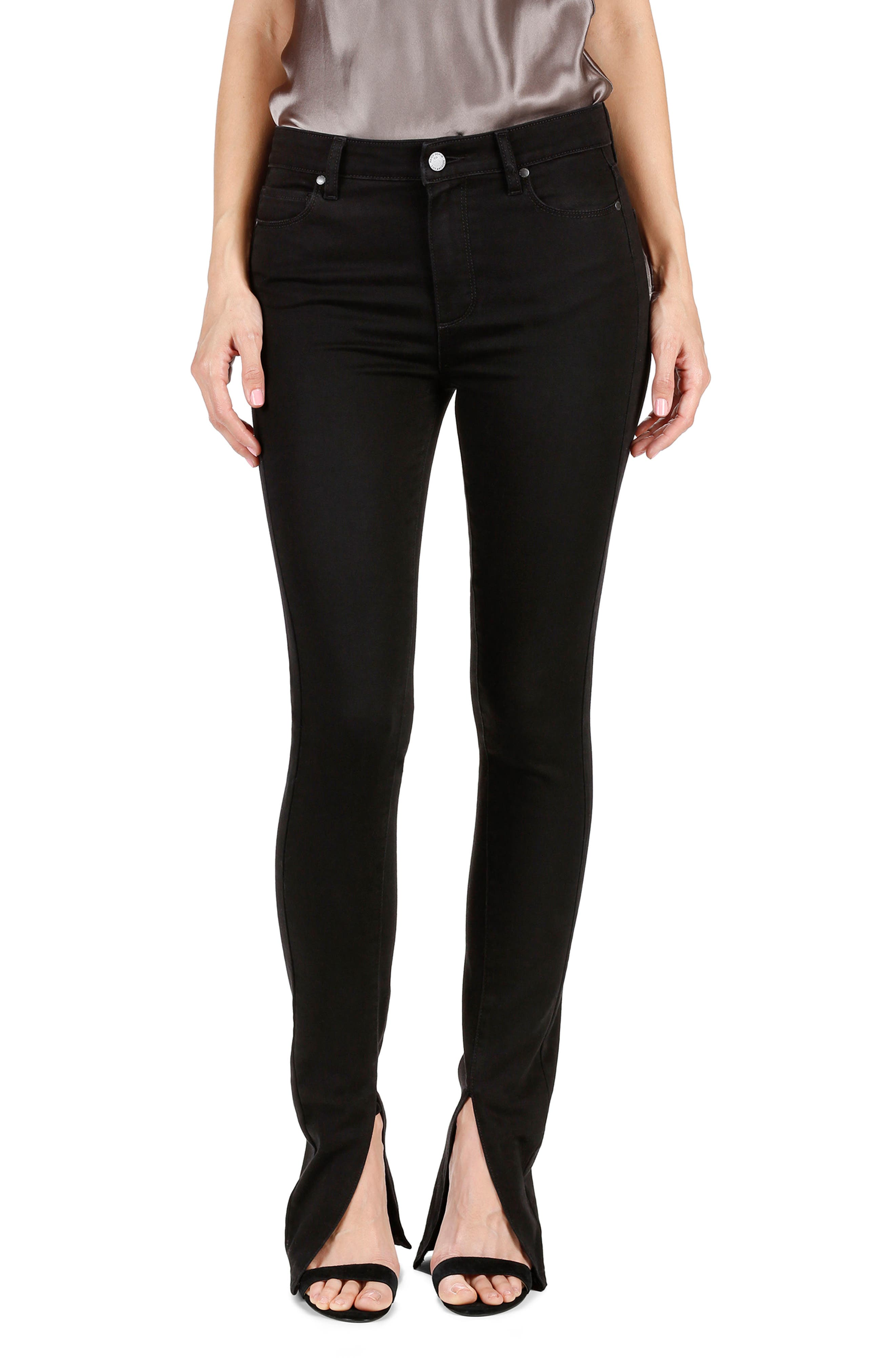 Main Image - Rosie HW x PAIGE Constance Skinny Jeans (Onyx)
