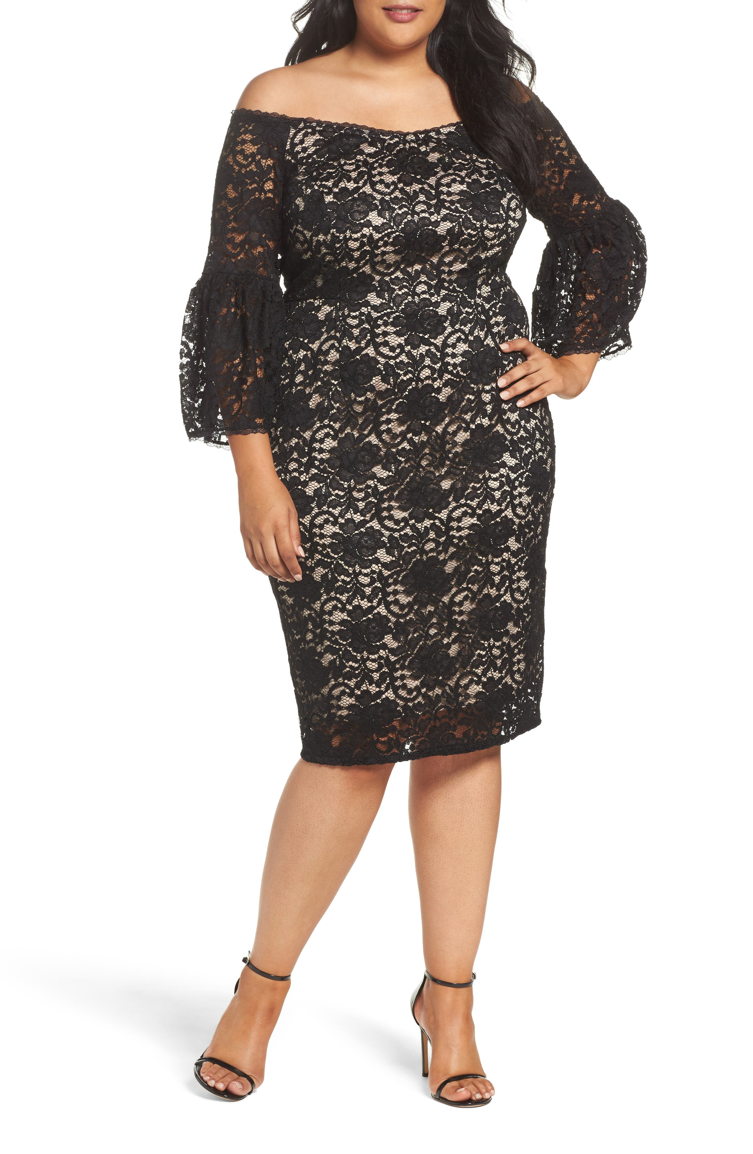 Adrianna Papell Juliet Off the Shoulder Lace Dress (Plus Size)