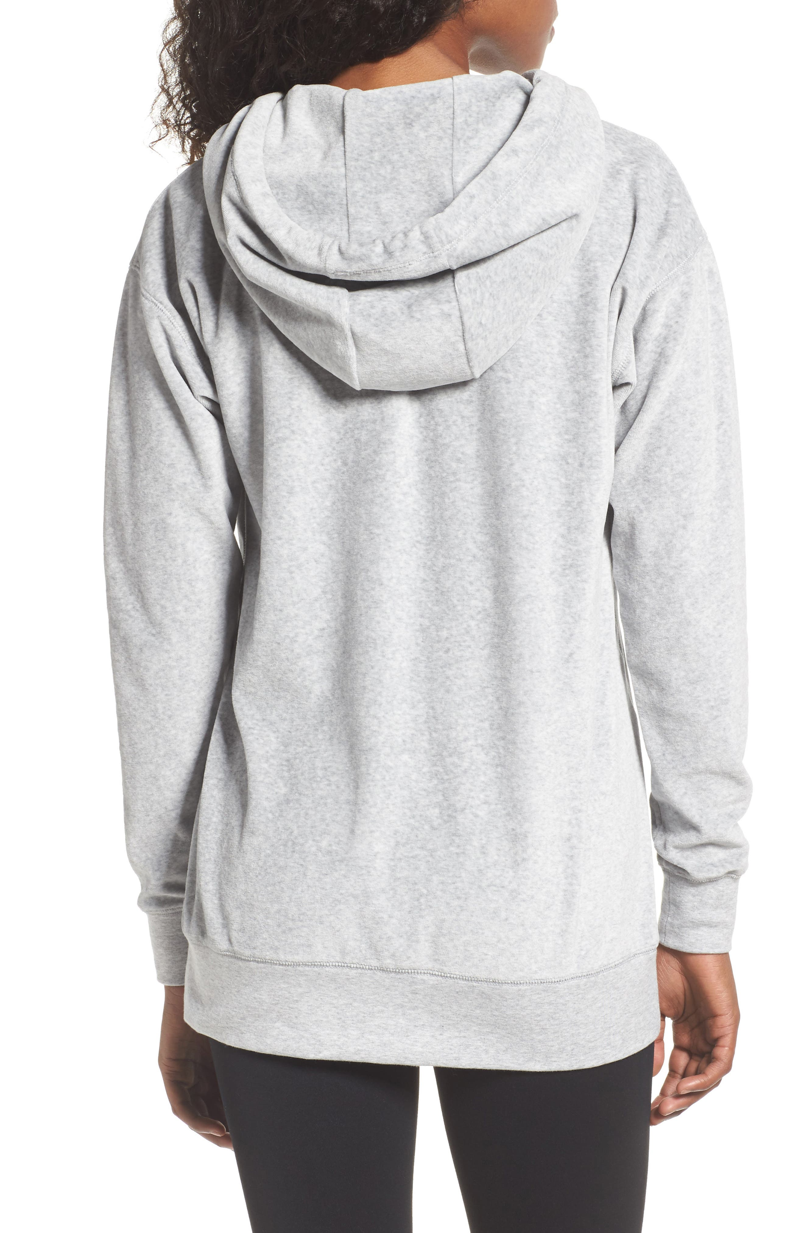Hashtag Velour Tunic Hoodie,                             Alternate thumbnail 2, color,                             Grey Light Heather