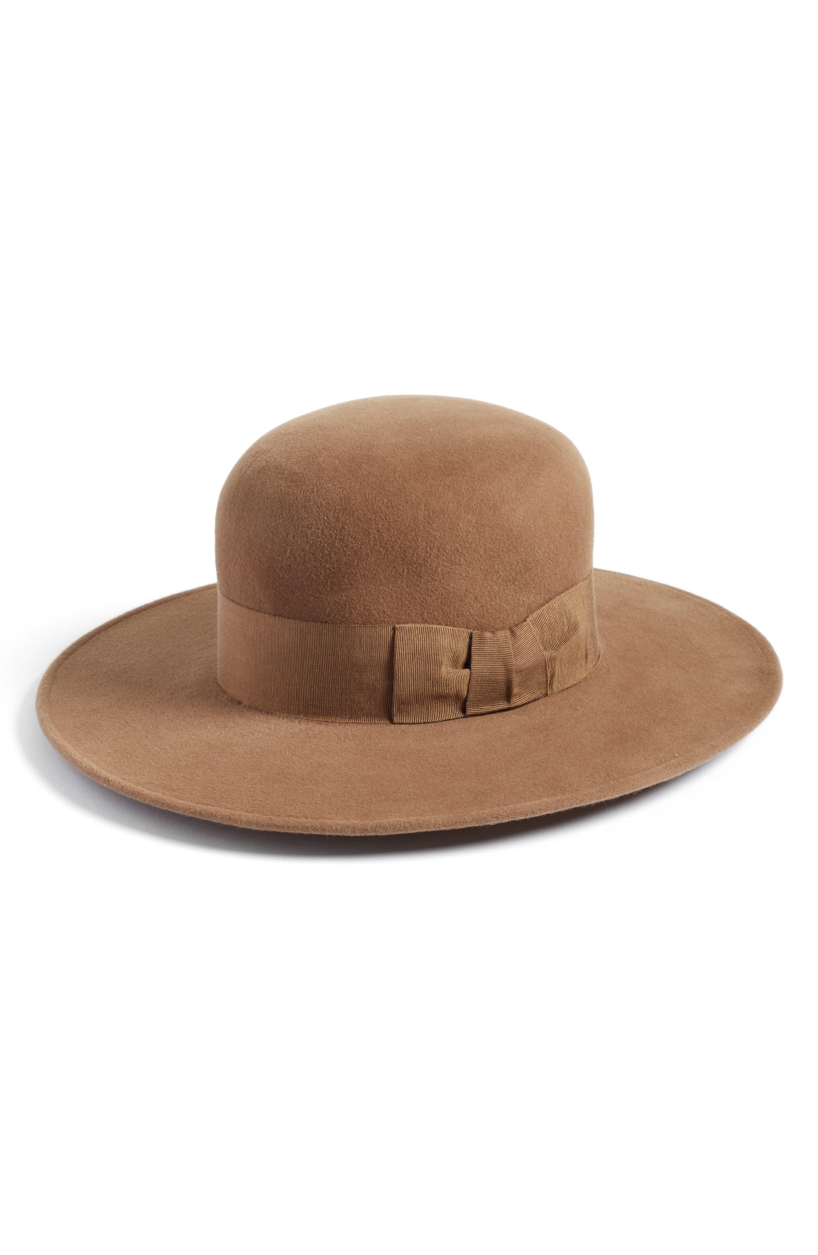 Velour Padre Fur Felt Wide Brim Hat,                         Main,                         color, Camel