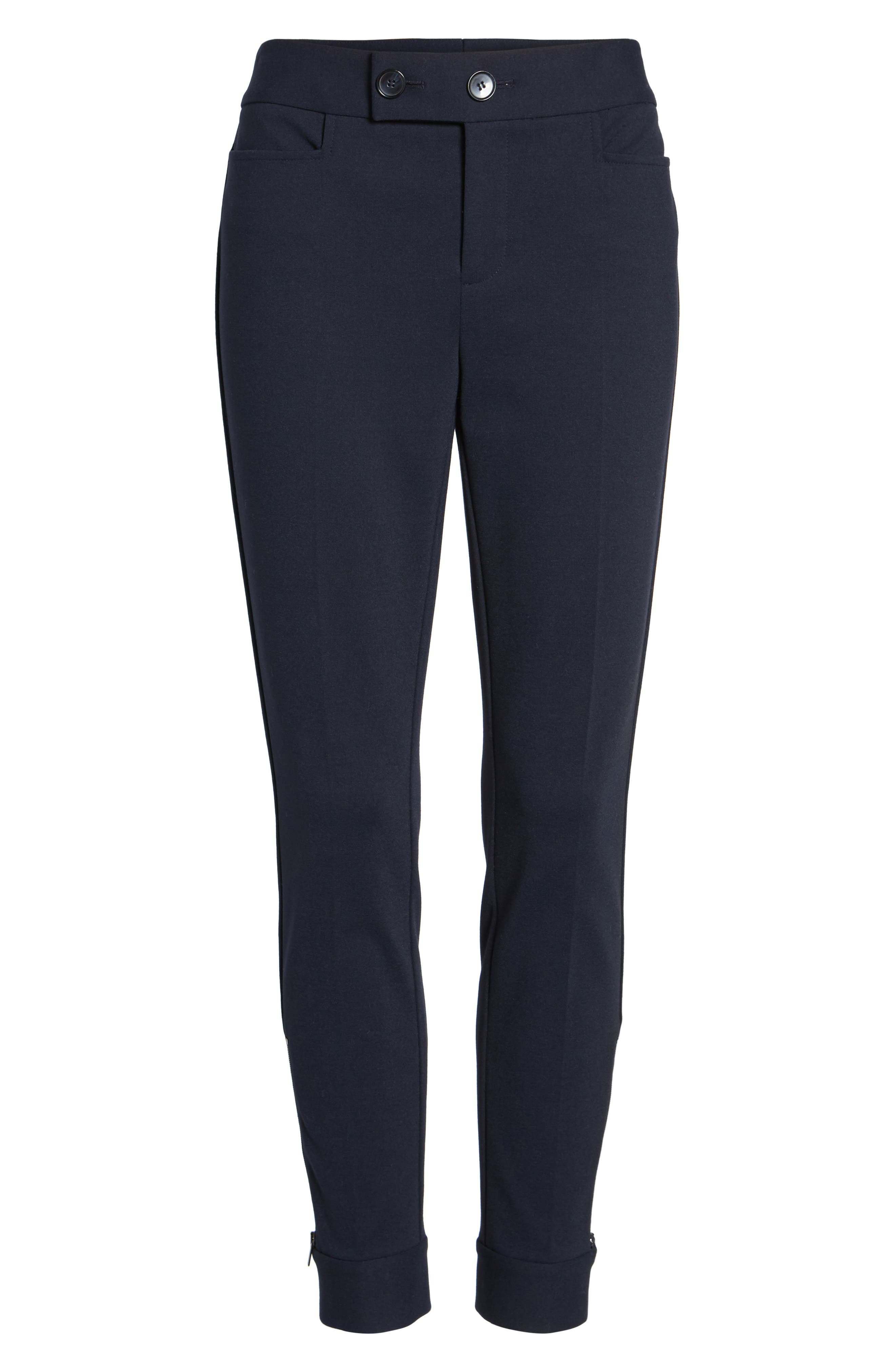 Tab Detail Ponte Ankle Pants,                             Alternate thumbnail 7, color,                             Navy Night