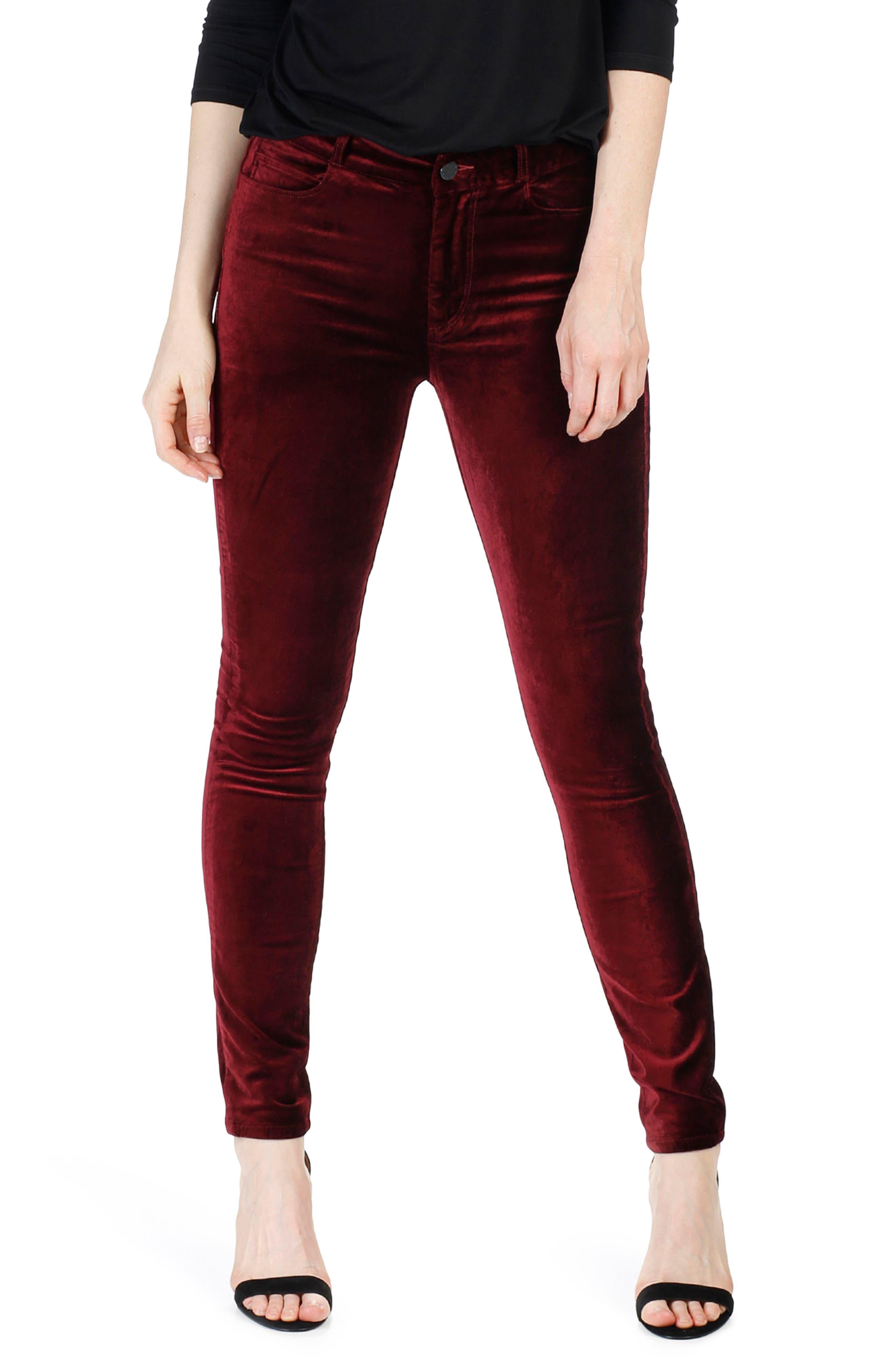 PAIGE Hoxton Velvet Skinny Jeans (Dark Magenta)