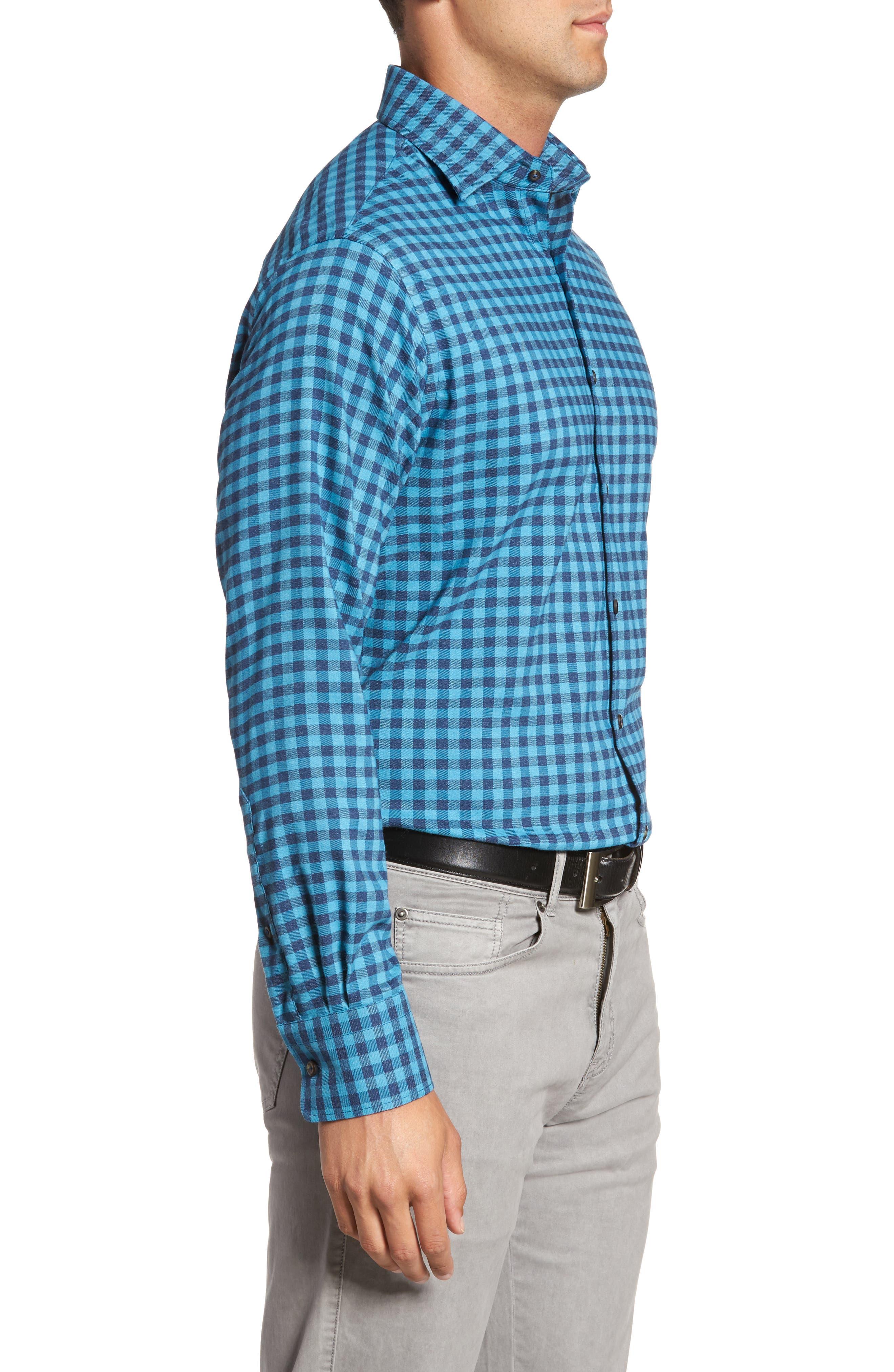 Vedder Gingham Regular Fit Performance Sport Shirt,                             Alternate thumbnail 3, color,                             Midnight