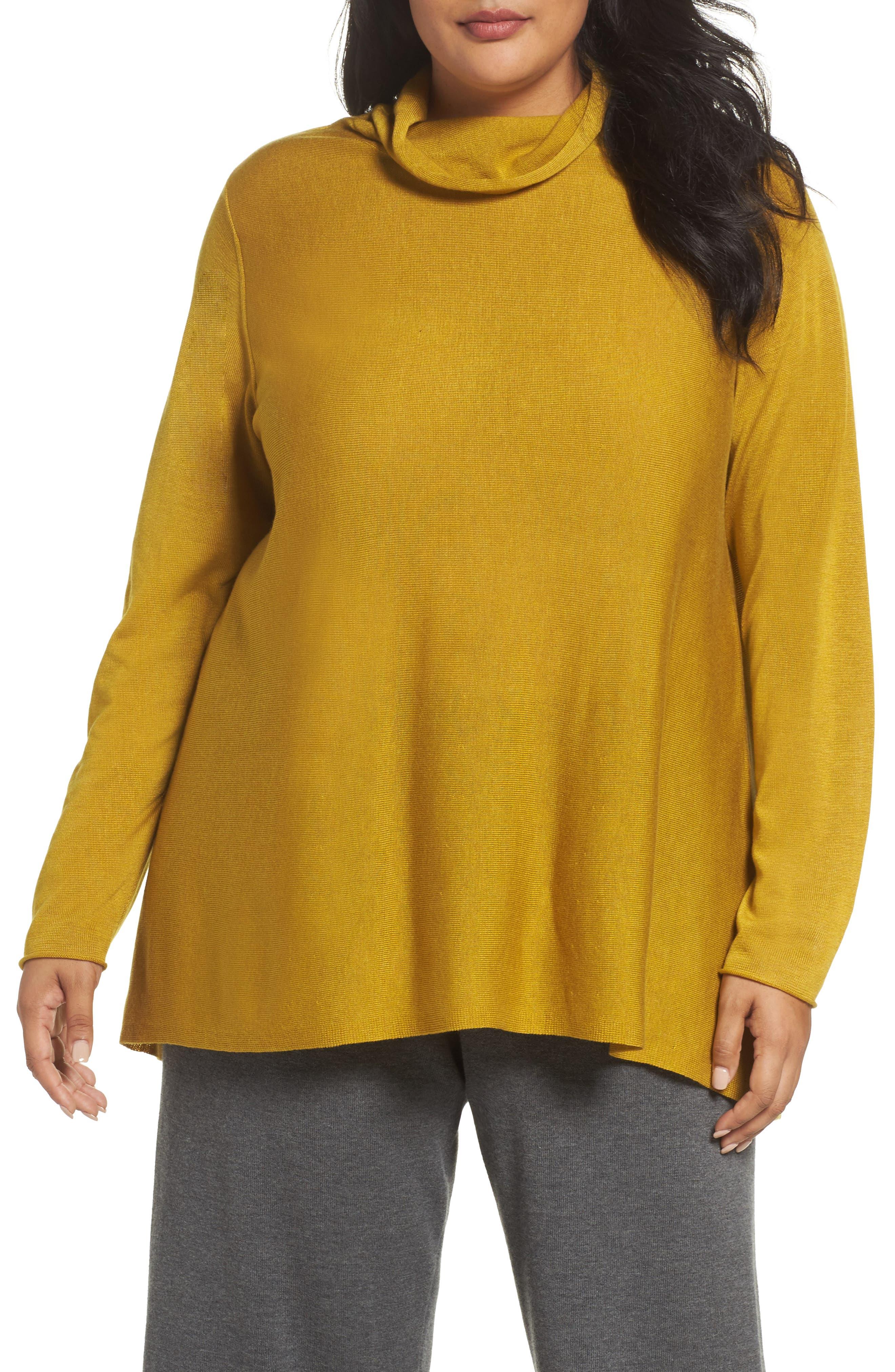 Main Image - Eileen Fisher Scrunch Turtleneck Sweater (Plus Size)