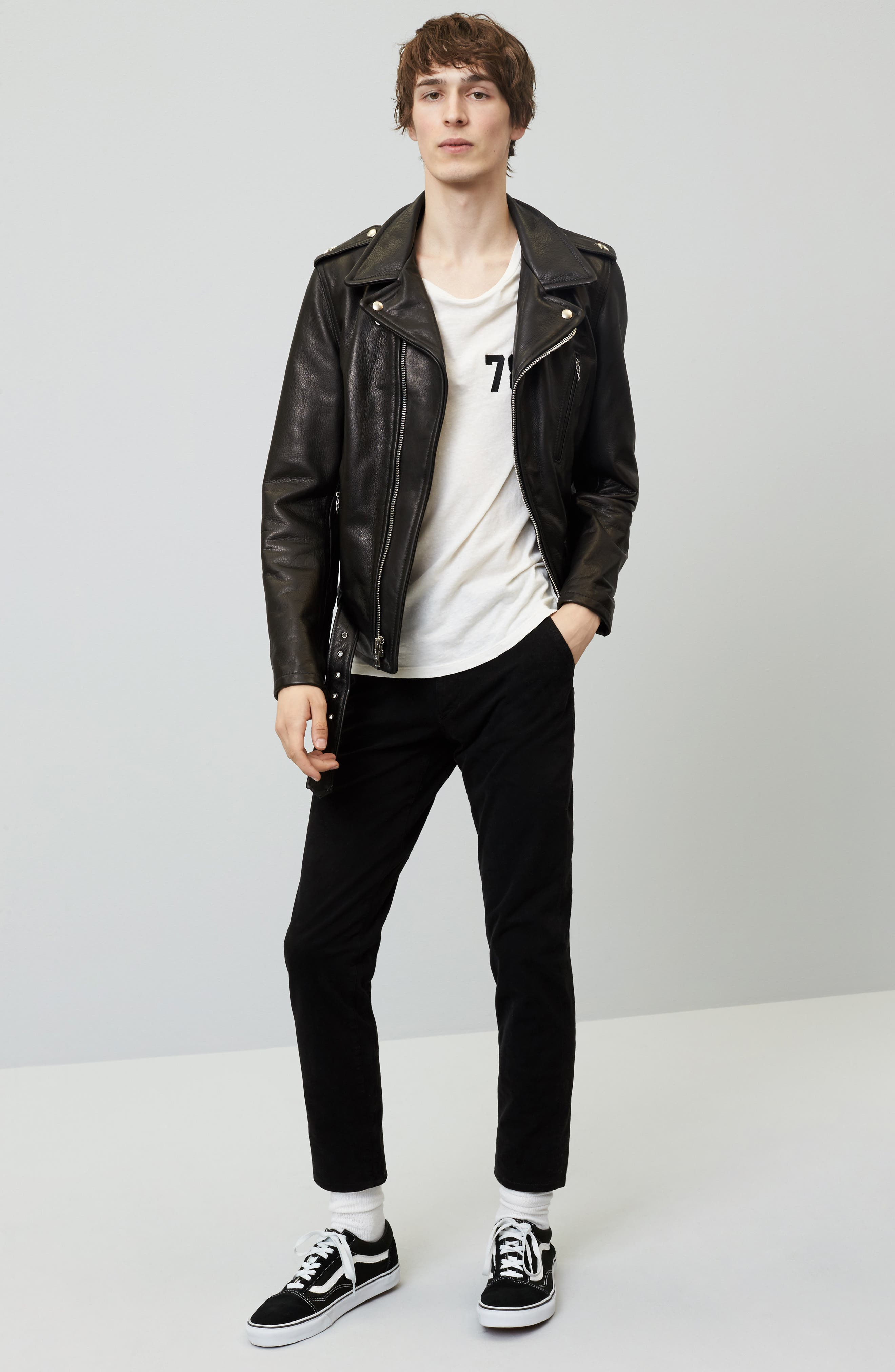 Alternate Image 6  - Schott NYC Perfecto Slim Fit Waxy Leather Moto Jacket