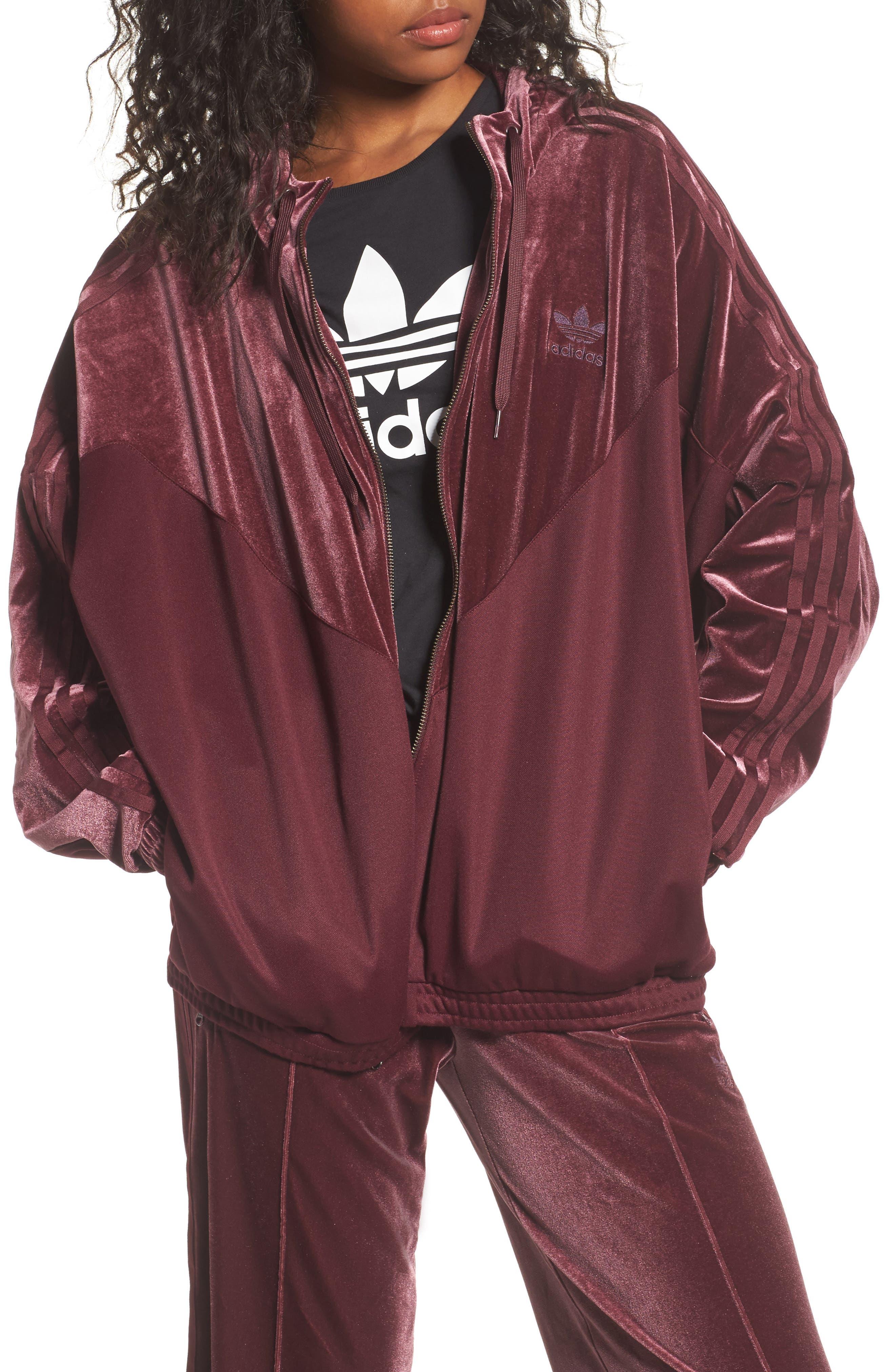 Velvet Zip Sweatshirt,                         Main,                         color, Maroon