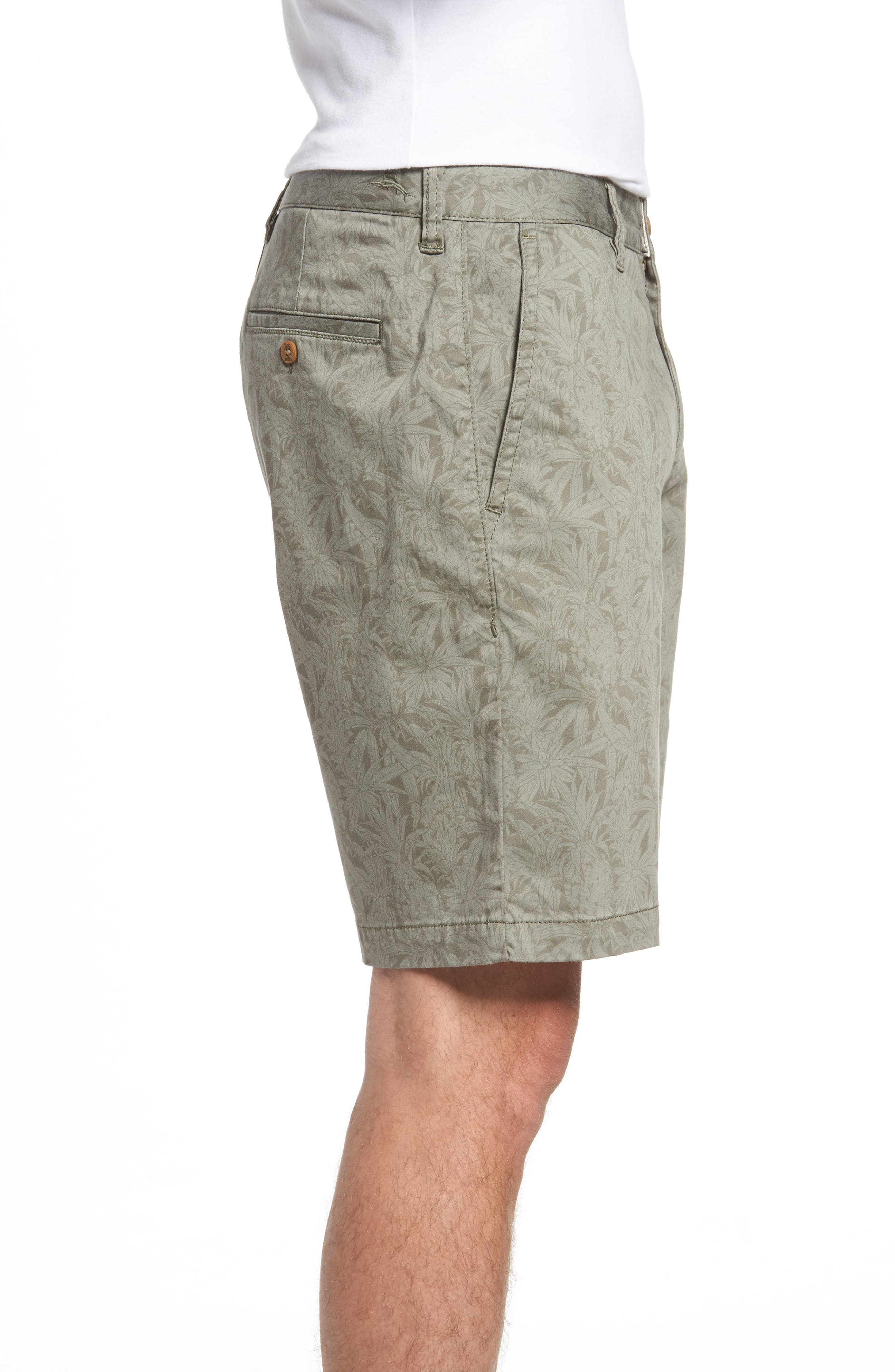 Camo Tropic Standard Fit Chino Shorts,                             Alternate thumbnail 3, color,                             Dusty Olive