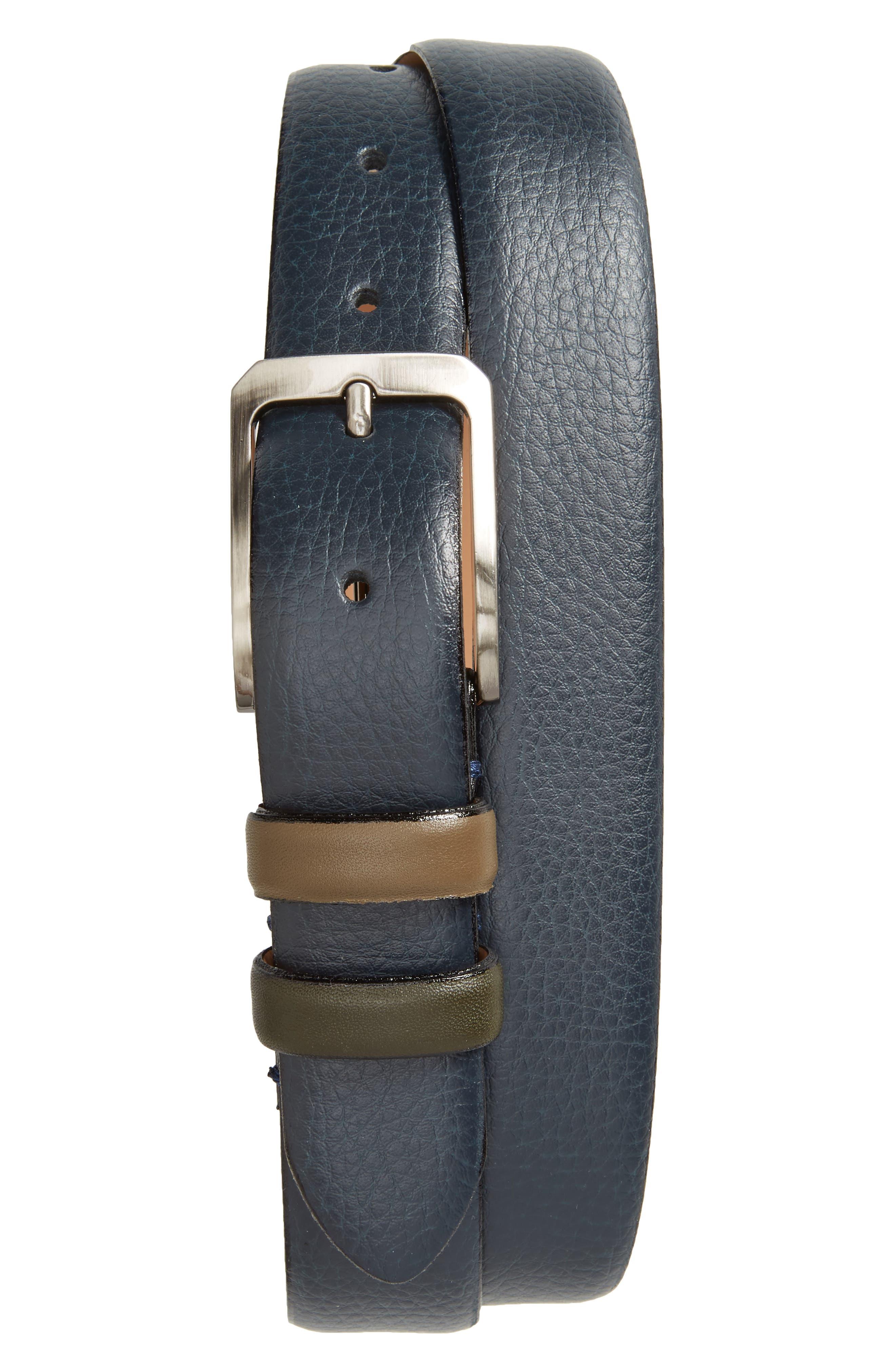 Shrubs Leather Belt,                         Main,                         color, Navy