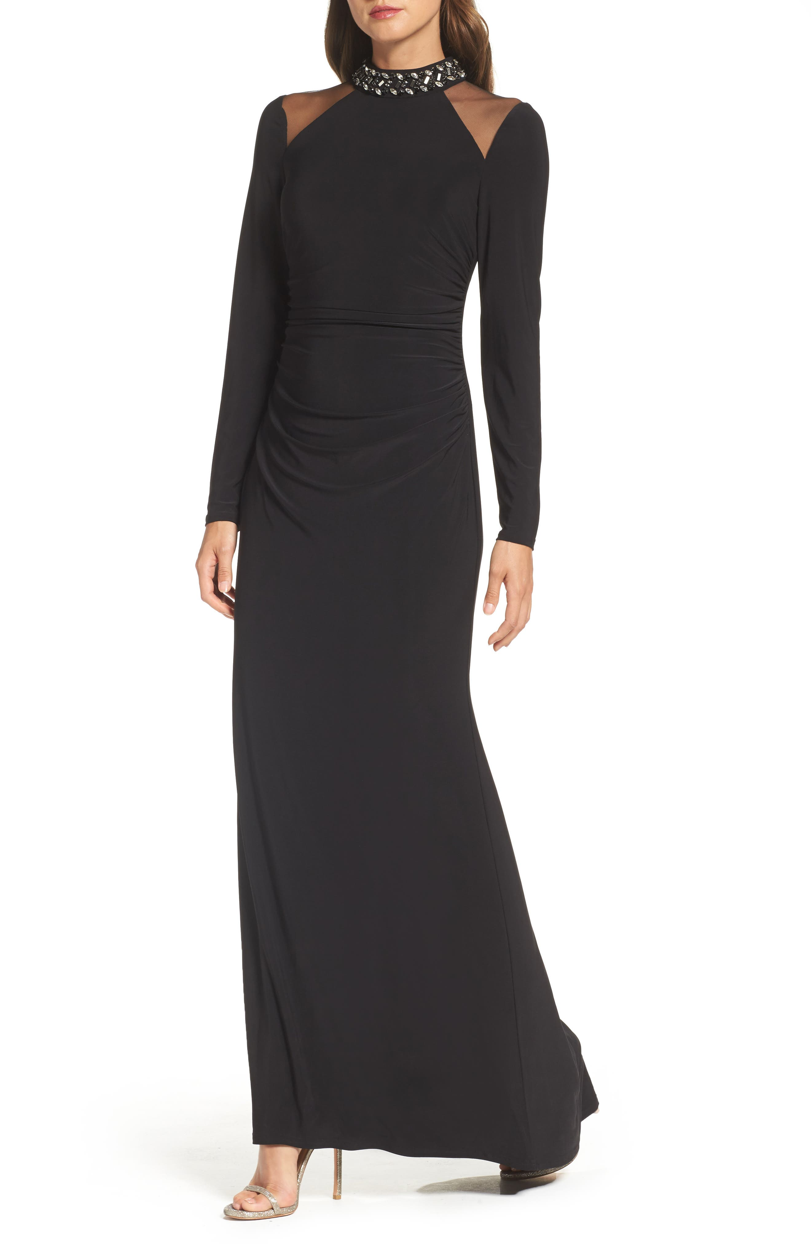 Mesh Panel Gown,                         Main,                         color, Black
