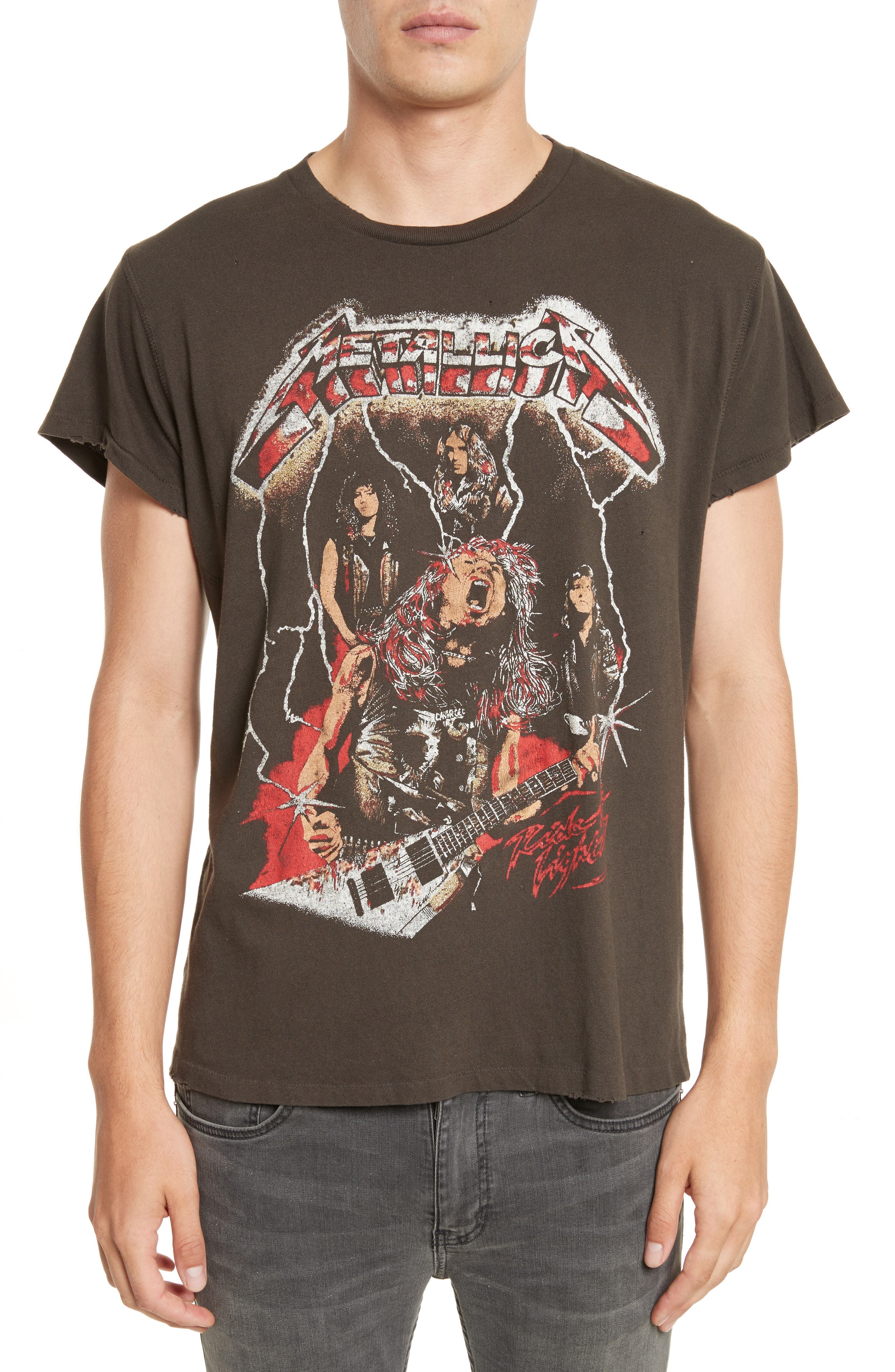 Metallica Glitter Graphic T-Shirt,                         Main,                         color, Dirty Black