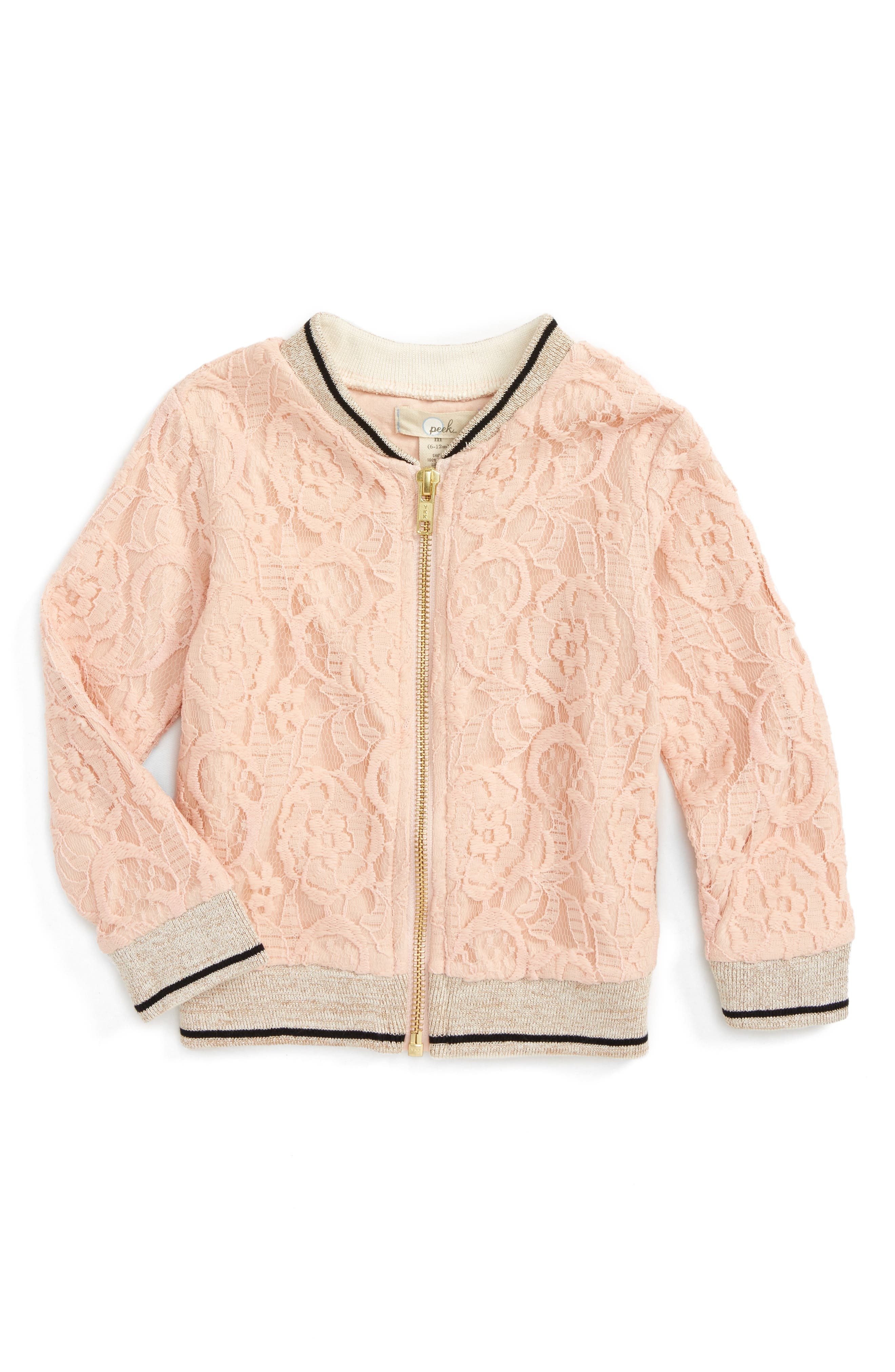 Peek Lace Bomber Jacket (Baby Girls)