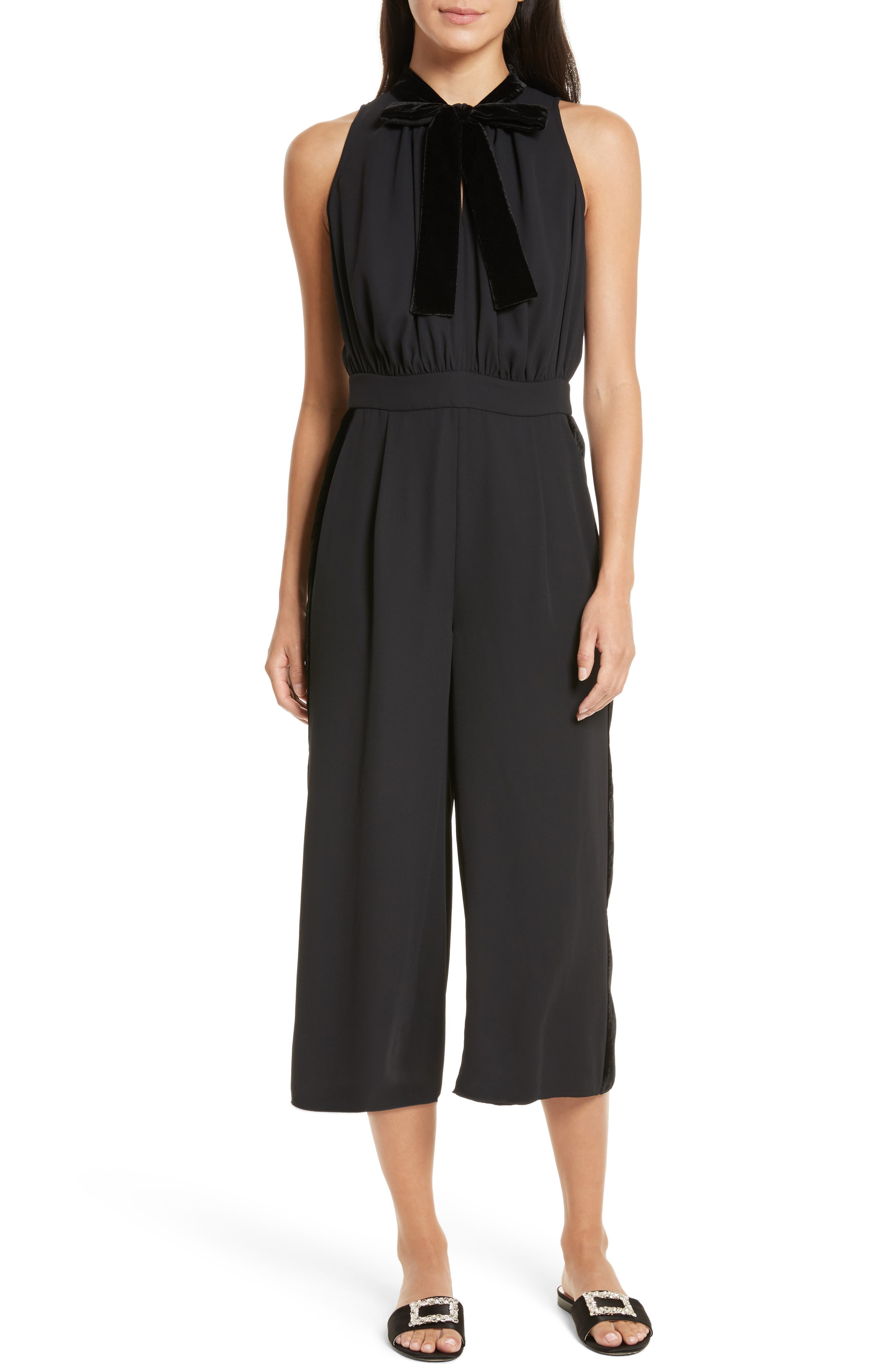 mixed velvet crop jumpsuit,                             Main thumbnail 1, color,                             Black