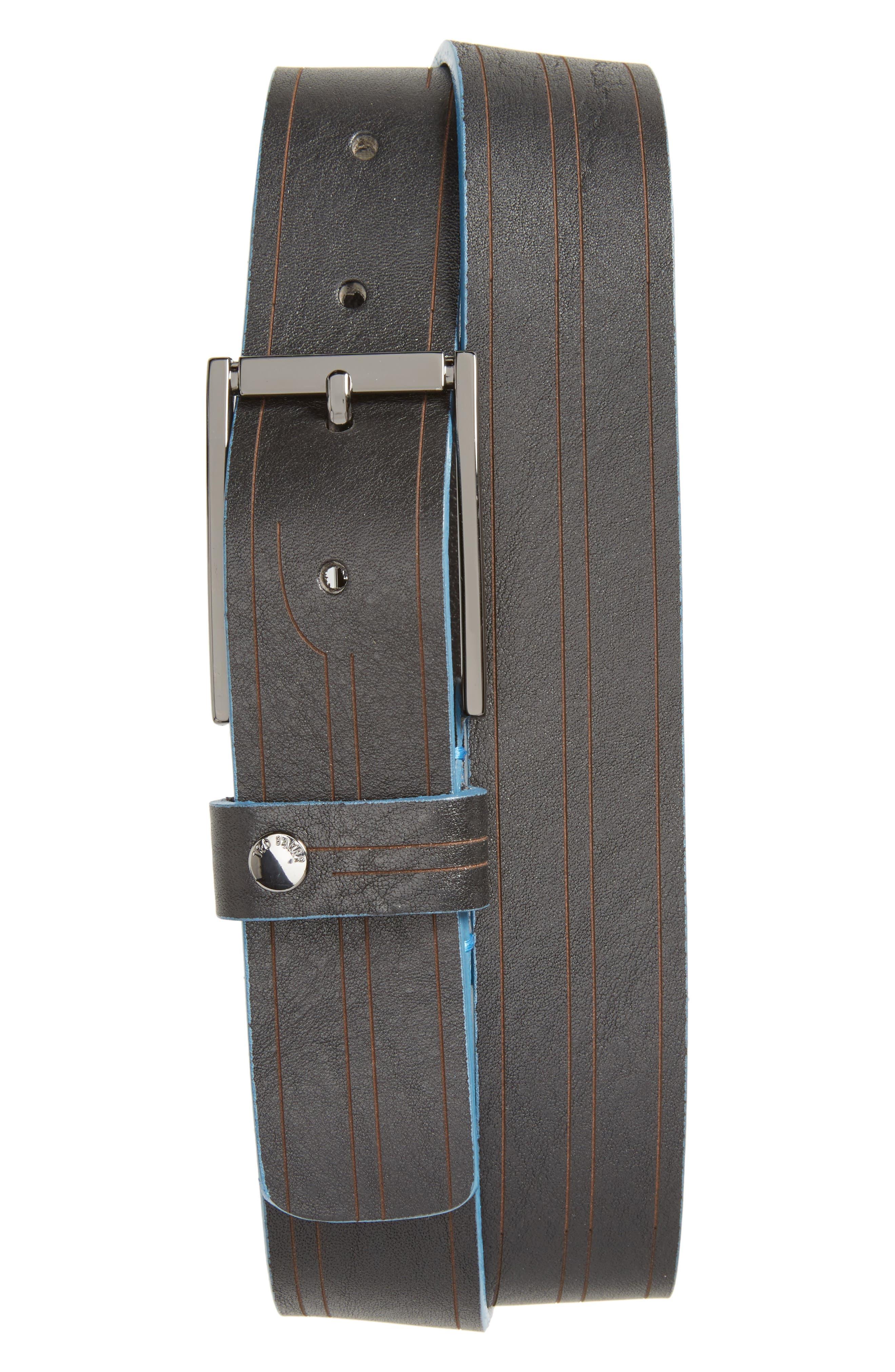 Magno Leather Belt,                             Main thumbnail 1, color,                             Black