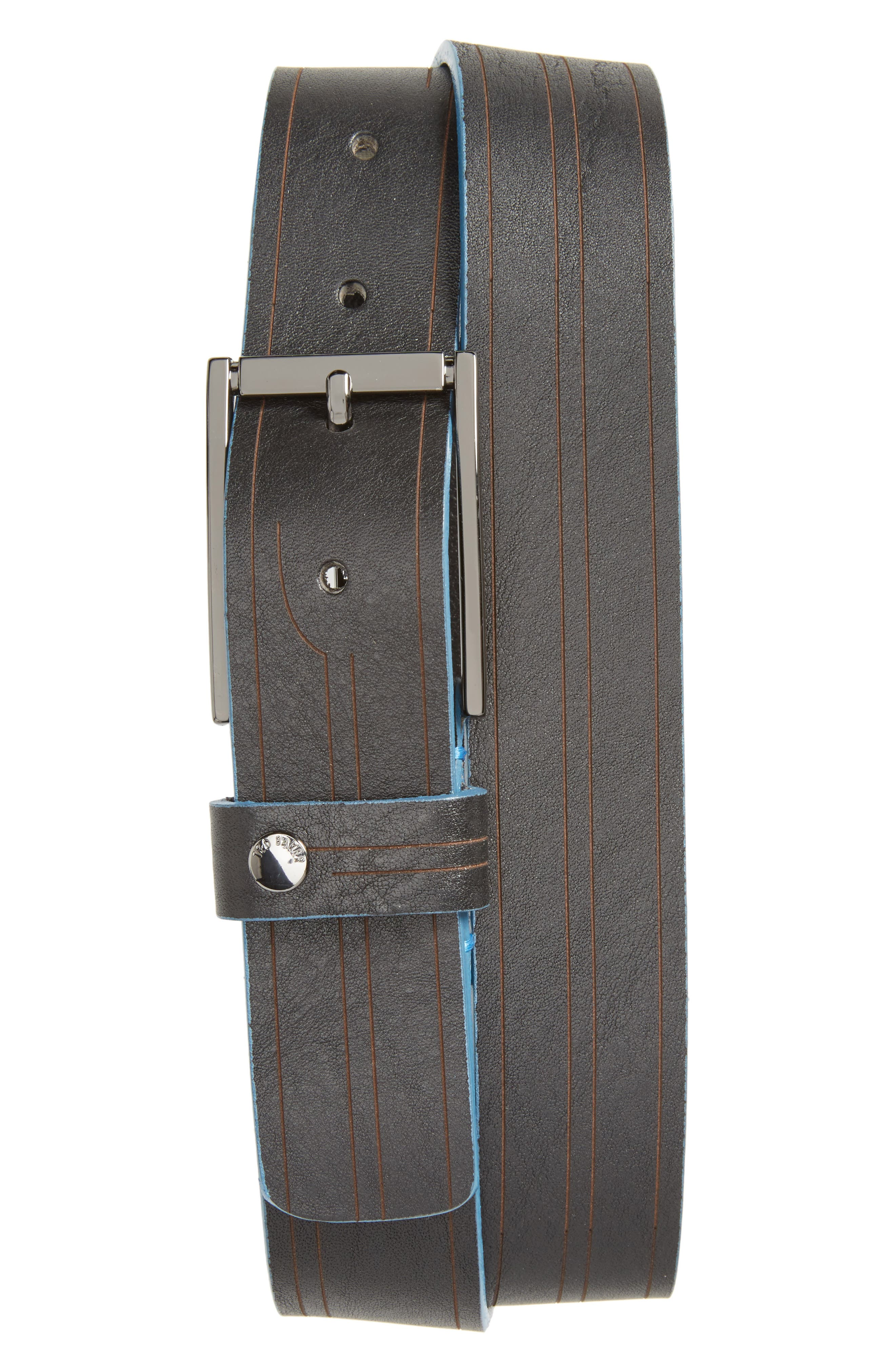 Magno Leather Belt,                         Main,                         color, Black