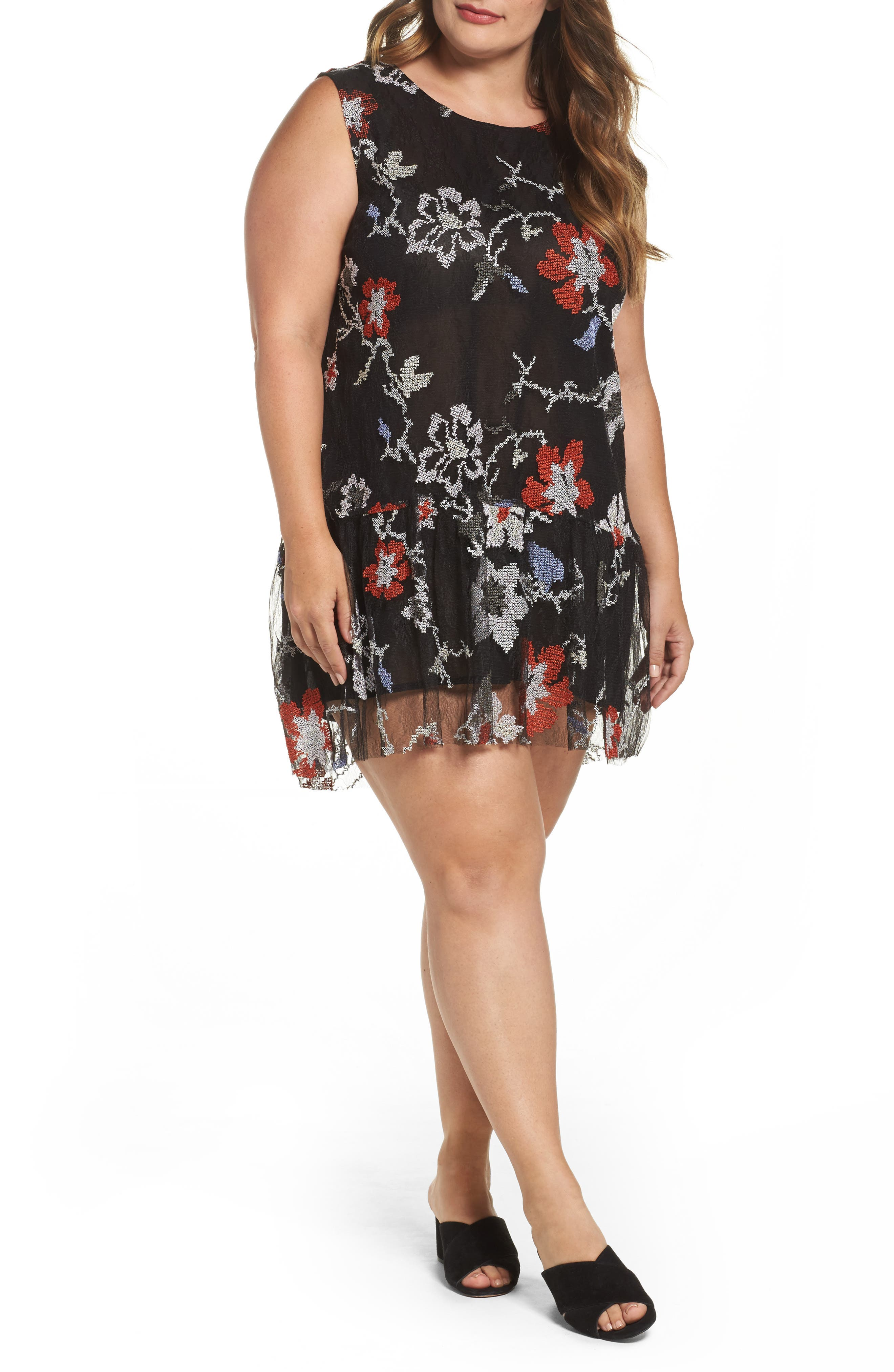 ELVI Abstract Floral Embroidery Sleeveless Dress (Plus Size)