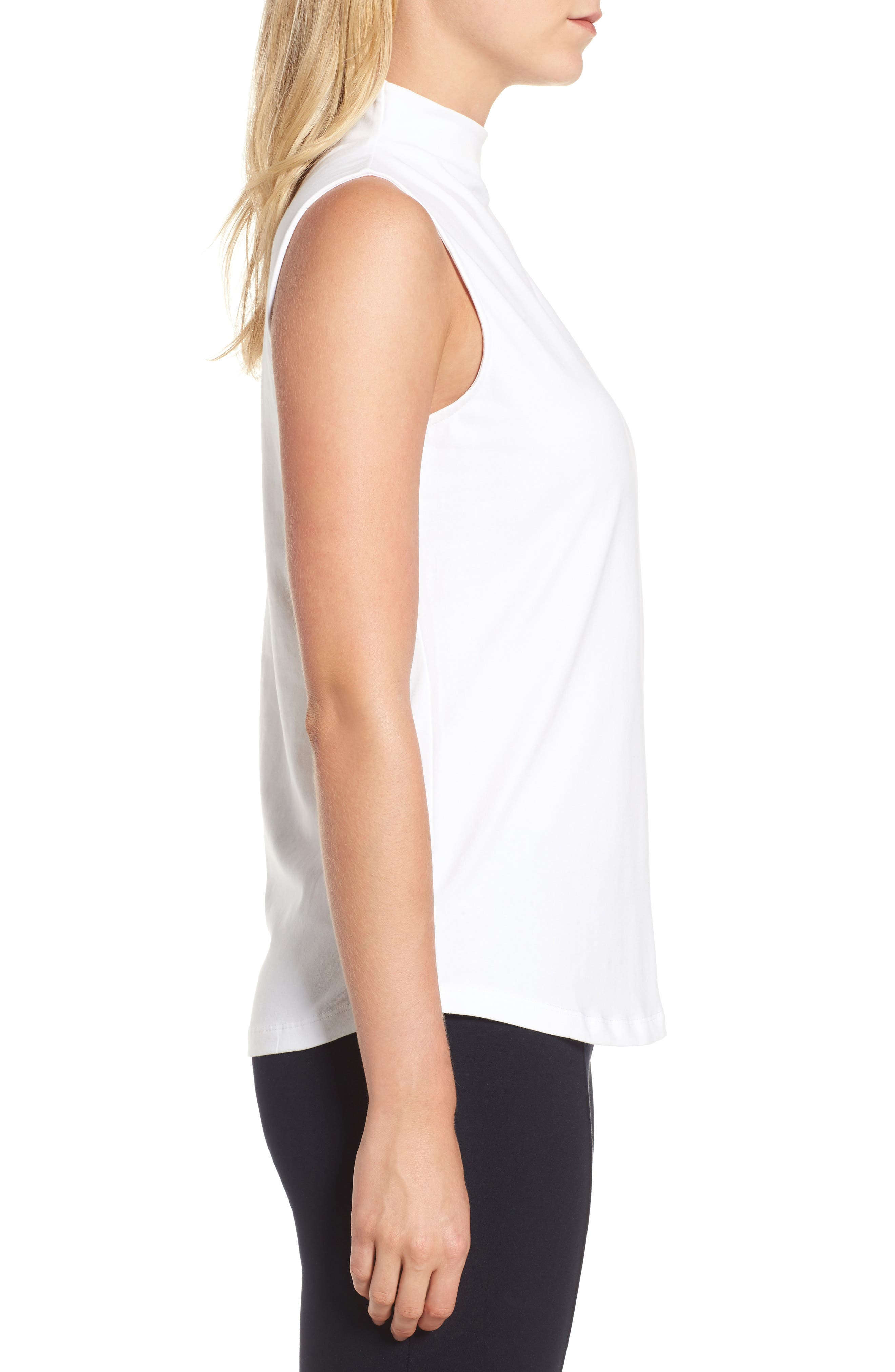 The Perfect Mock Neck Top,                             Alternate thumbnail 3, color,                             Paper White