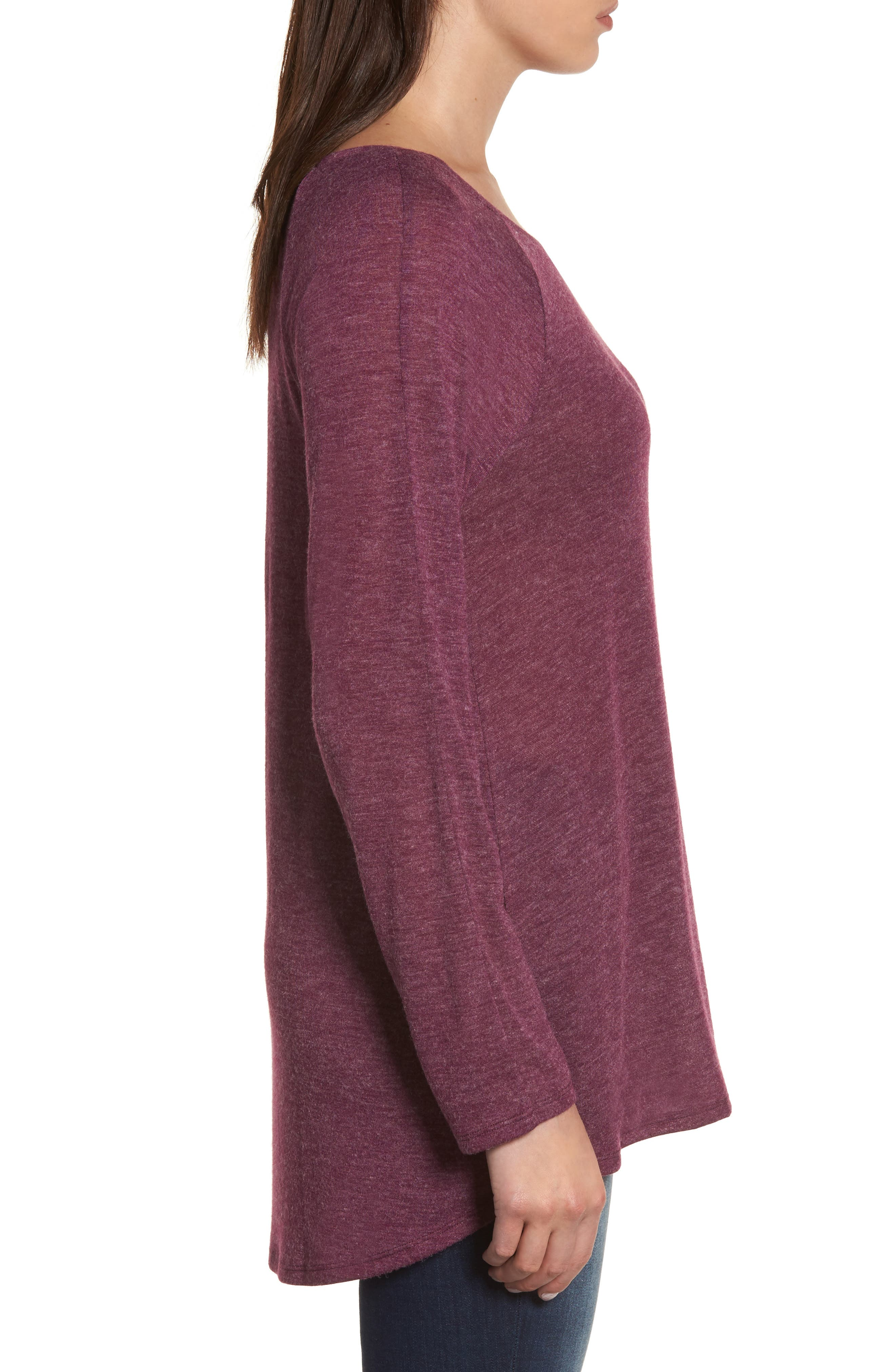 High/Low Tunic Sweatshirt,                             Alternate thumbnail 3, color,                             Mulberry