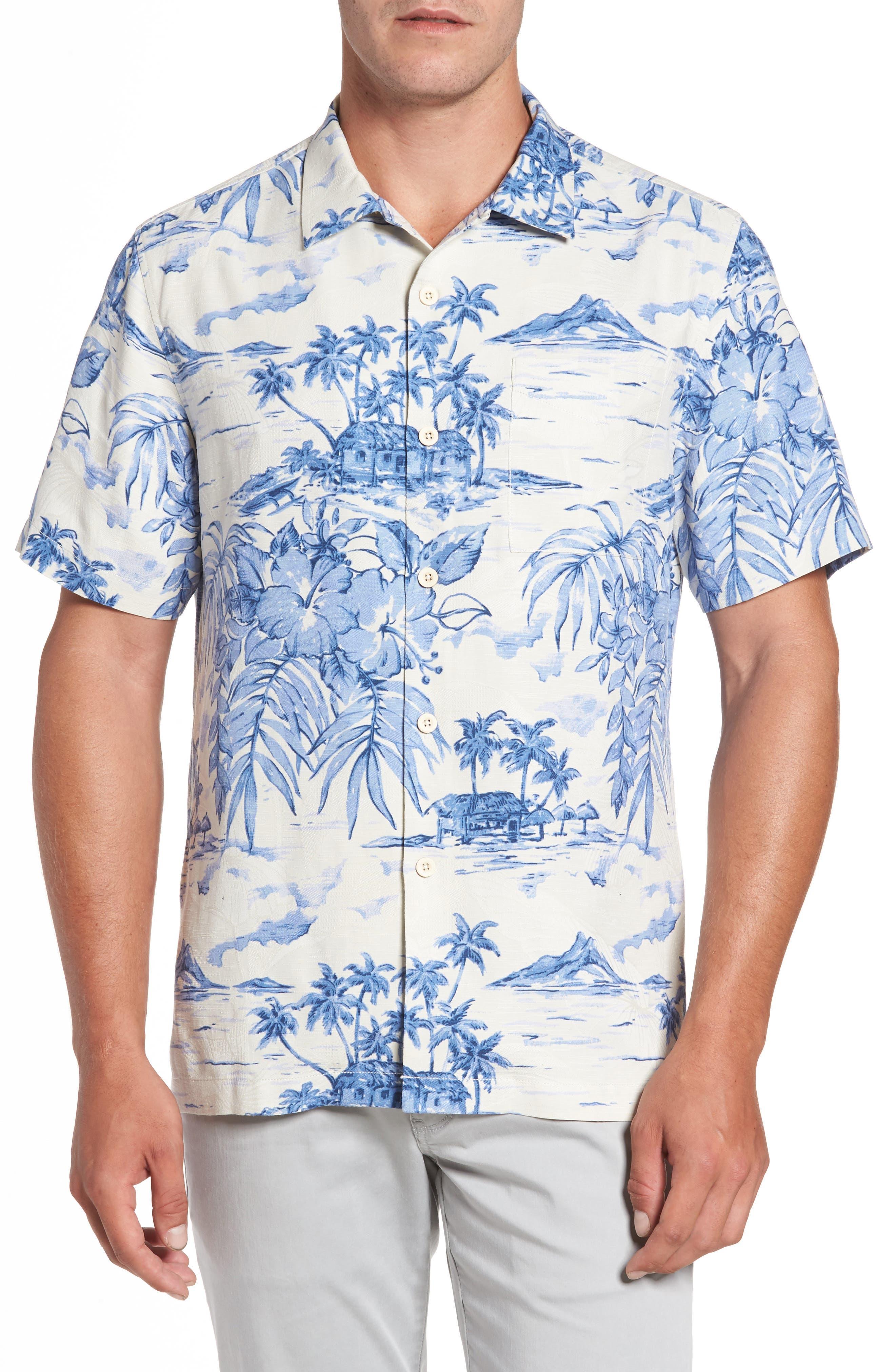 Destination Hawaii Classic Fit Silk Camp Shirt,                         Main,                         color, Coconut Cream