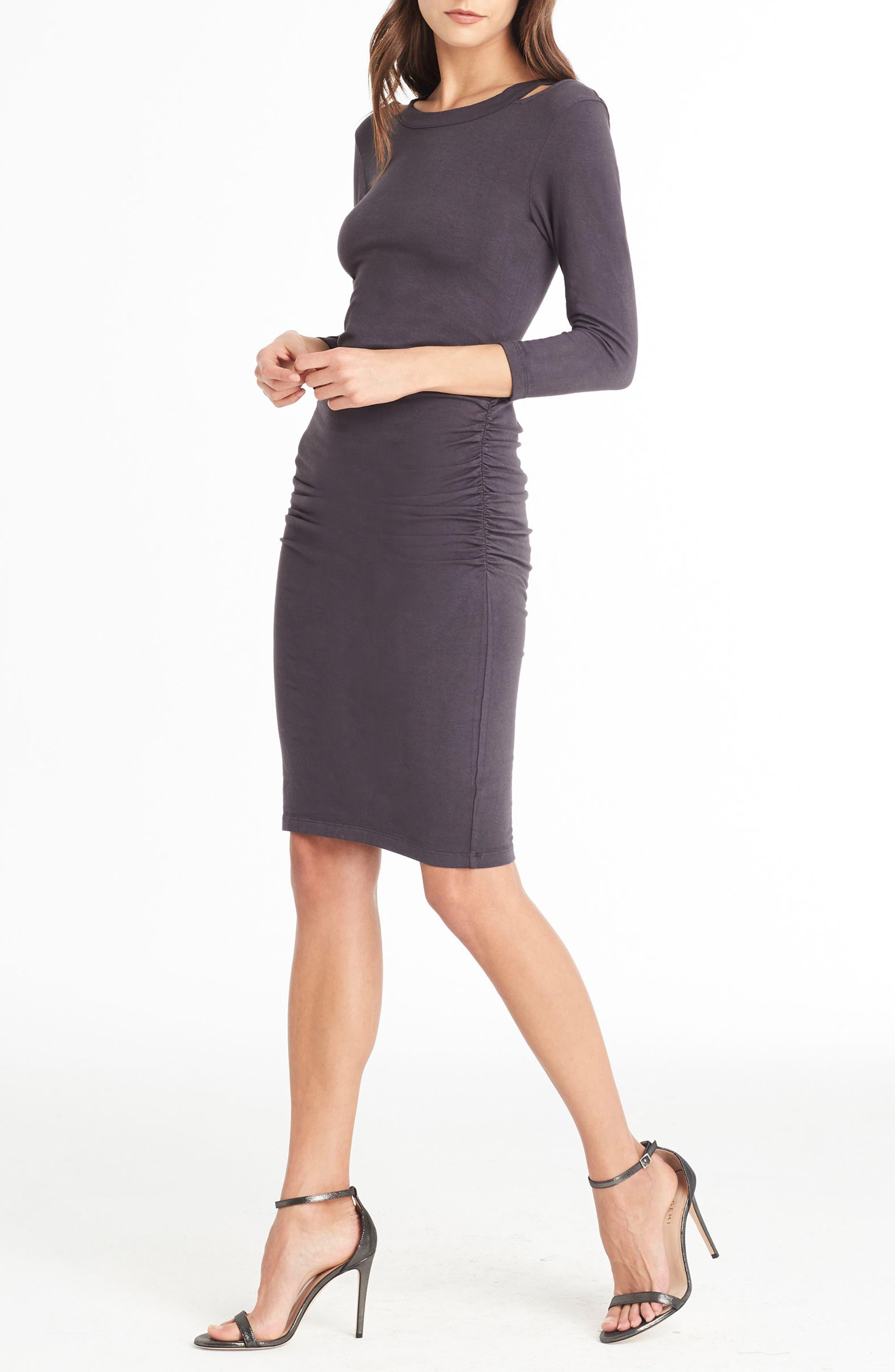 Strap Back Body-Con Dress,                             Alternate thumbnail 3, color,                             Oxide