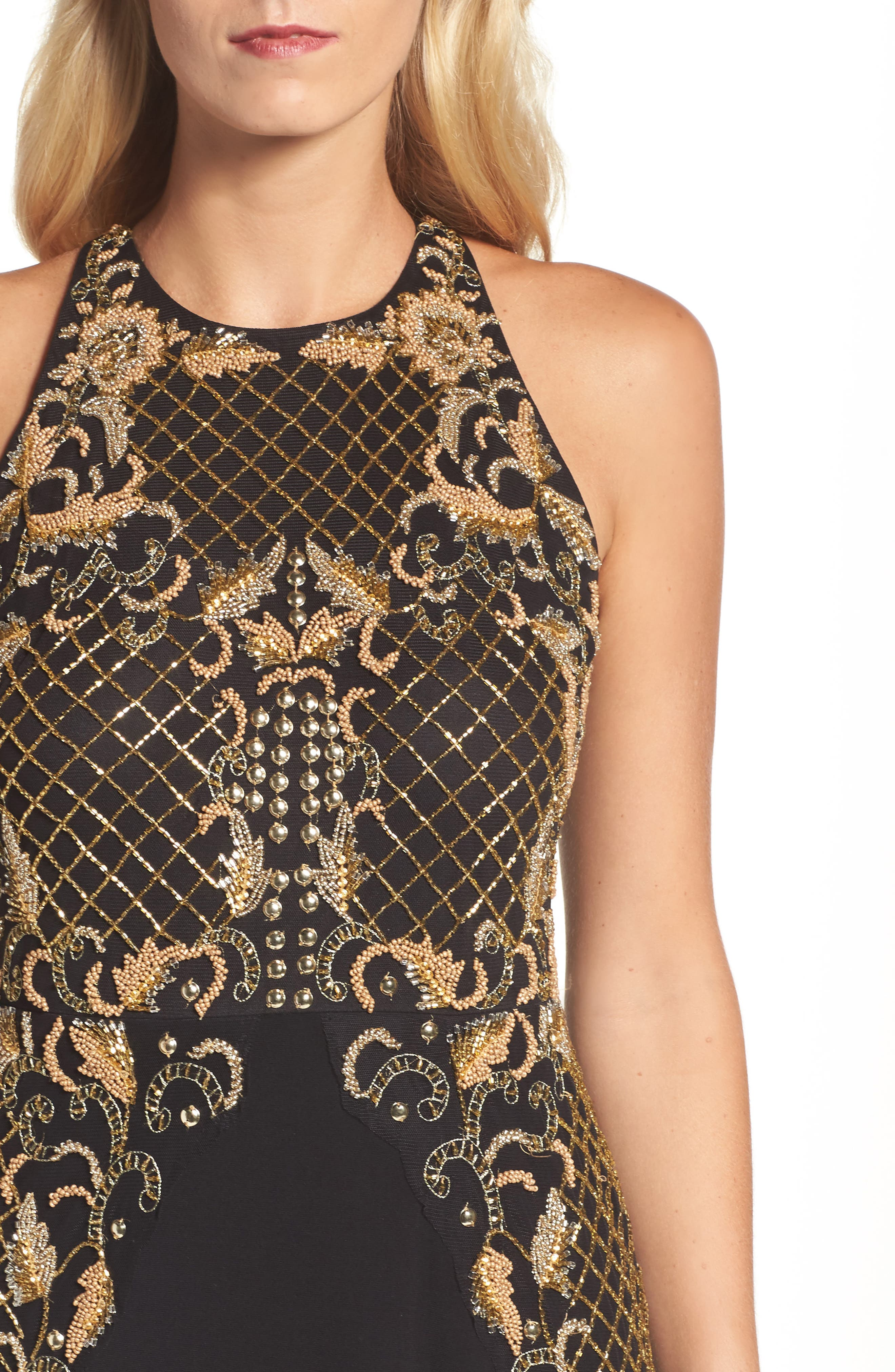 Beaded Gown,                             Alternate thumbnail 4, color,                             Black Gold