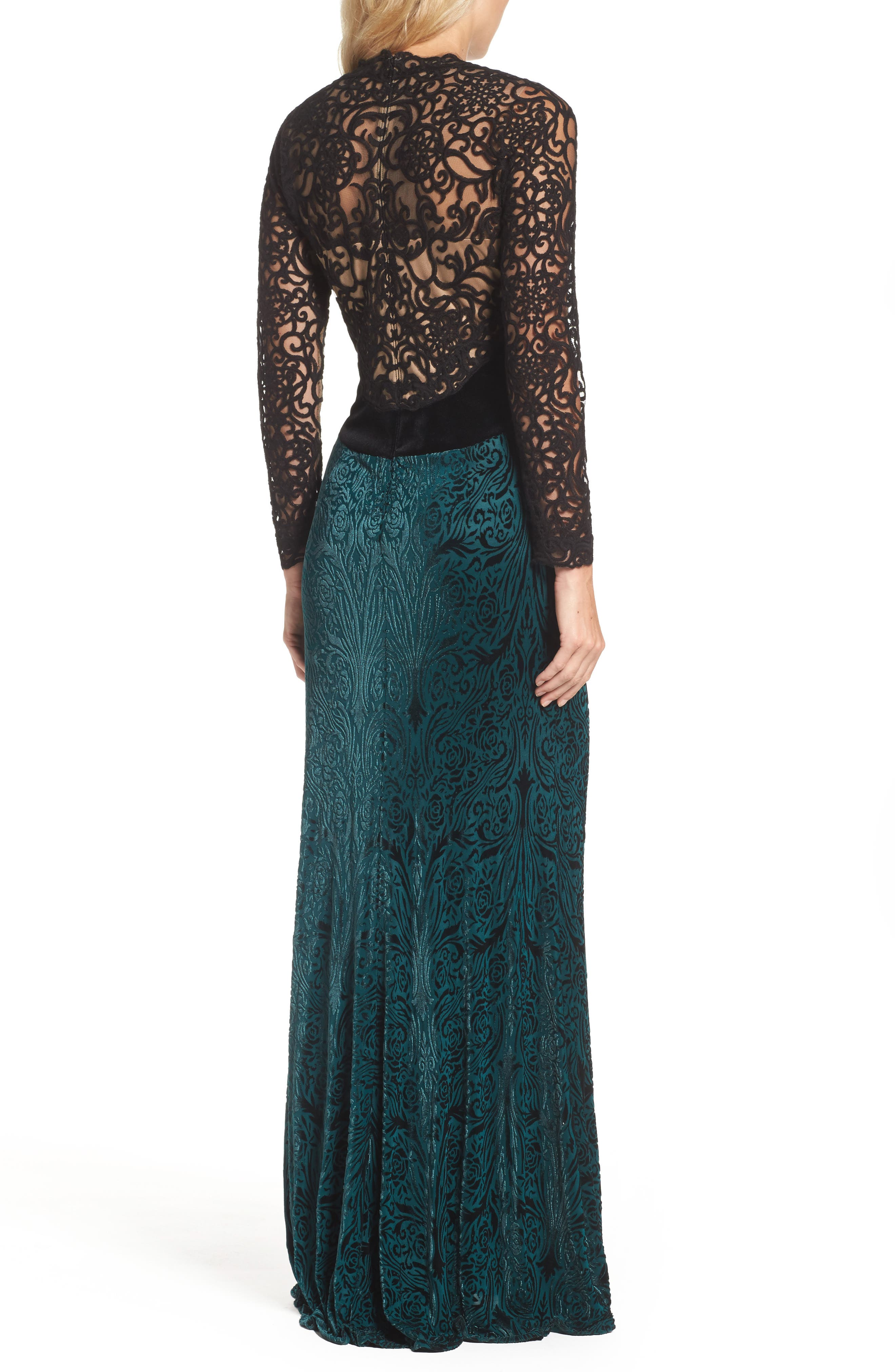 V-Neck Velvet & Illusion Gown,                             Alternate thumbnail 2, color,                             Forest/ Black