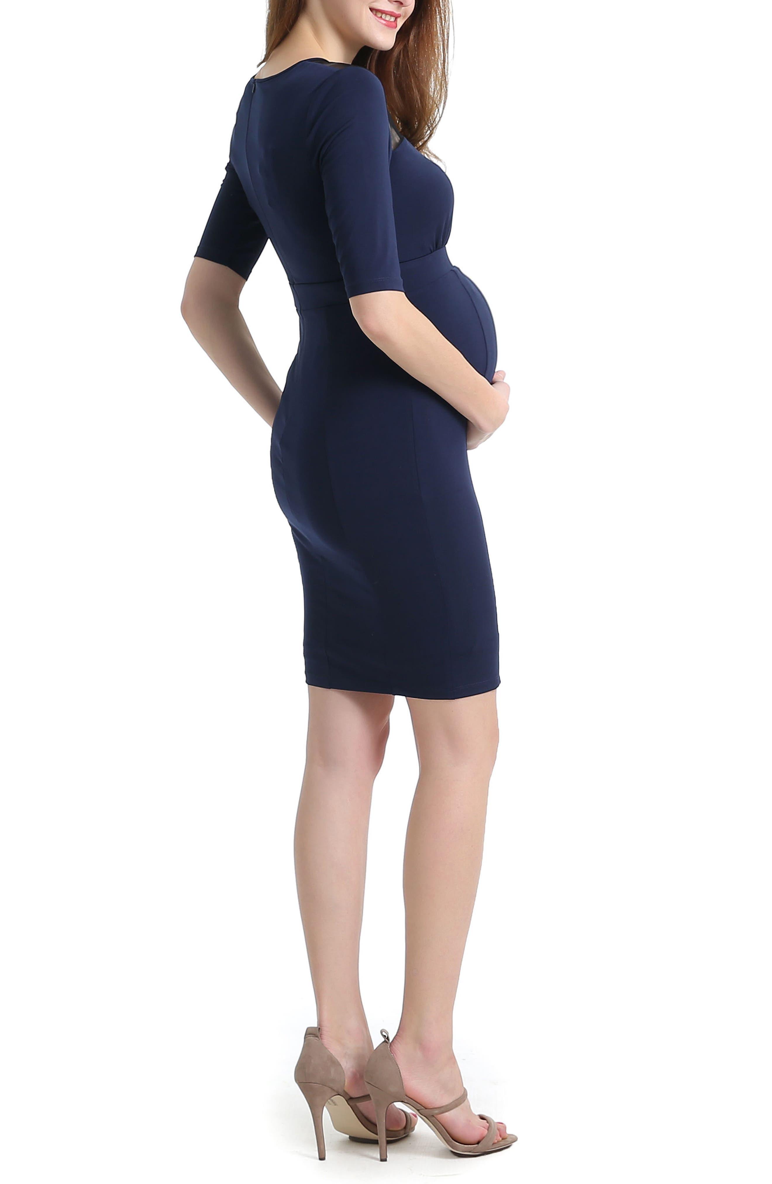 Alternate Image 2  - Kimi and Kai Tiffany Mesh Yoke Maternity Body-Con Dress