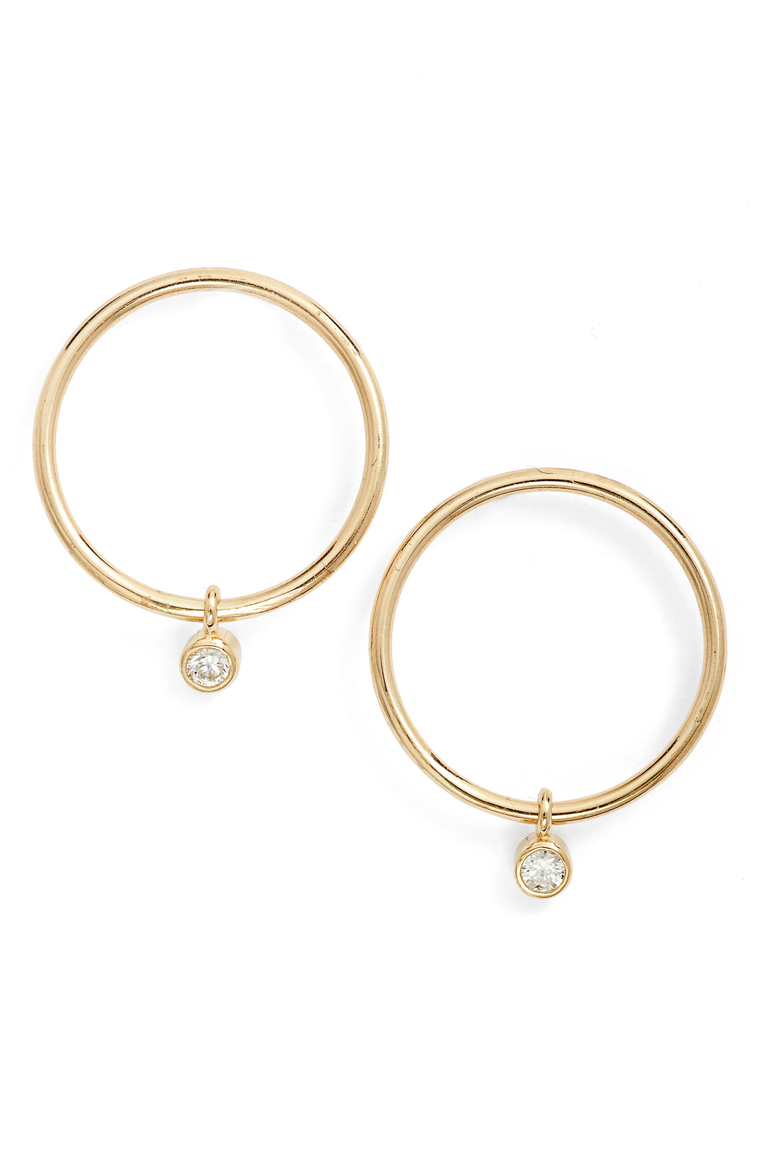 Diamond Small Frontal Hoop Earrings,                         Main,                         color, Yellow Gold