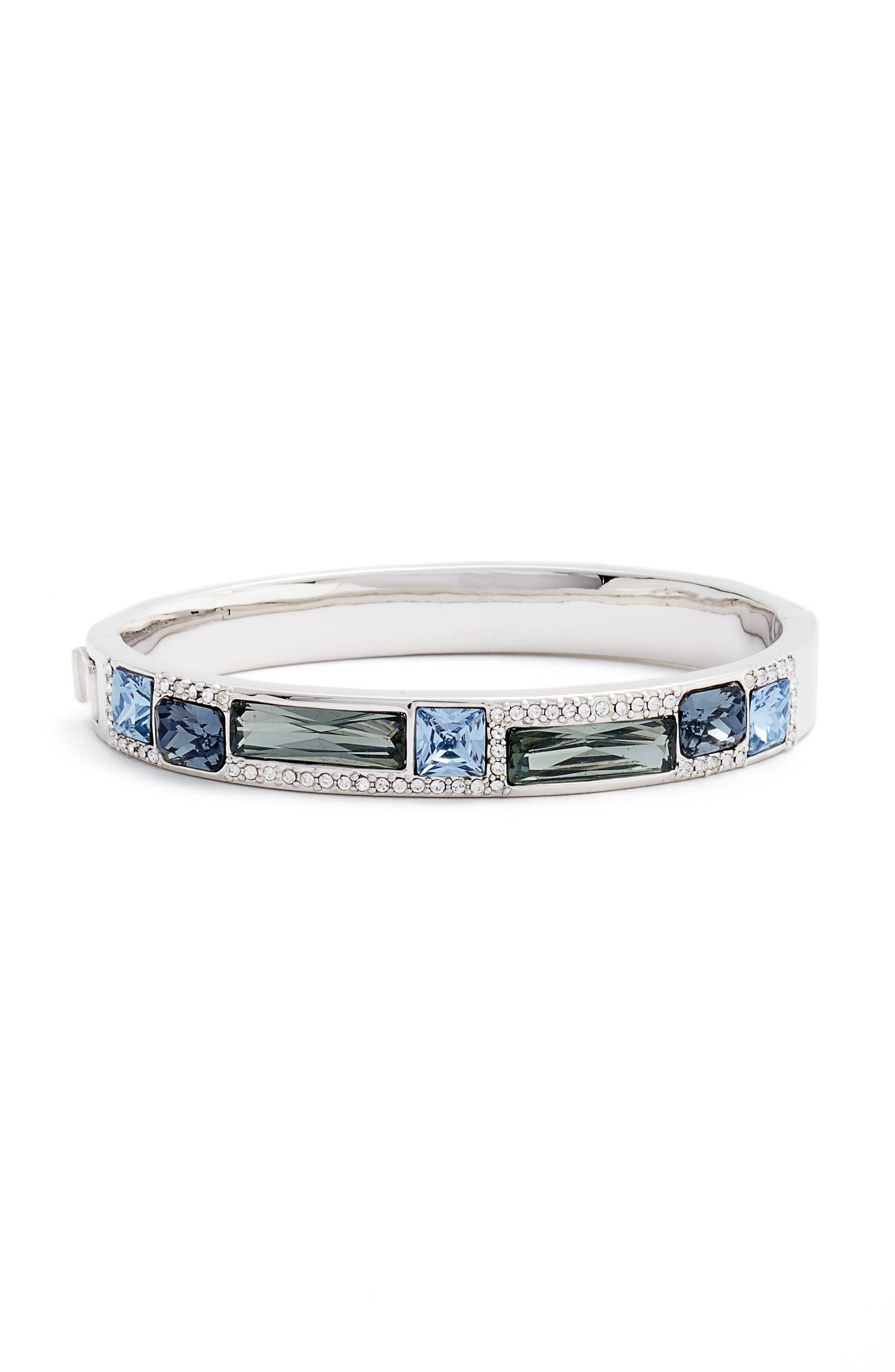 Hinge Bangle Bracelet,                         Main,                         color, Silver/ Blue Multi