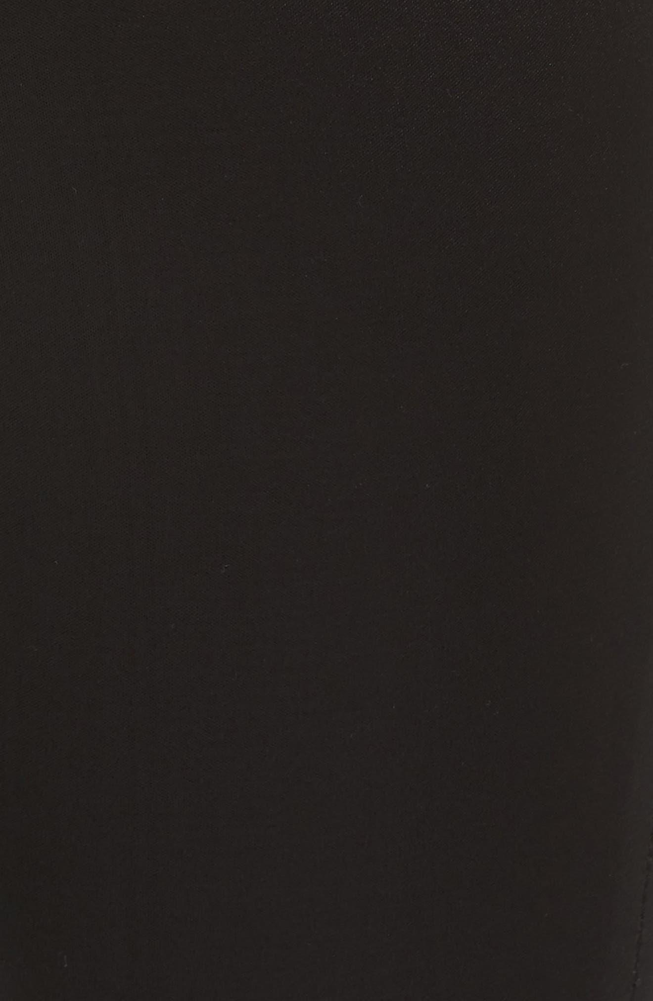 High Waist Ankle Skinny Jeans,                             Alternate thumbnail 5, color,                             Black Sateen