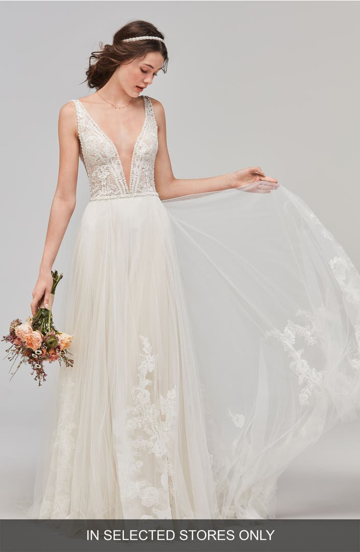 Willowby Philomena Deep V Neck Tulle Gown Nordstrom
