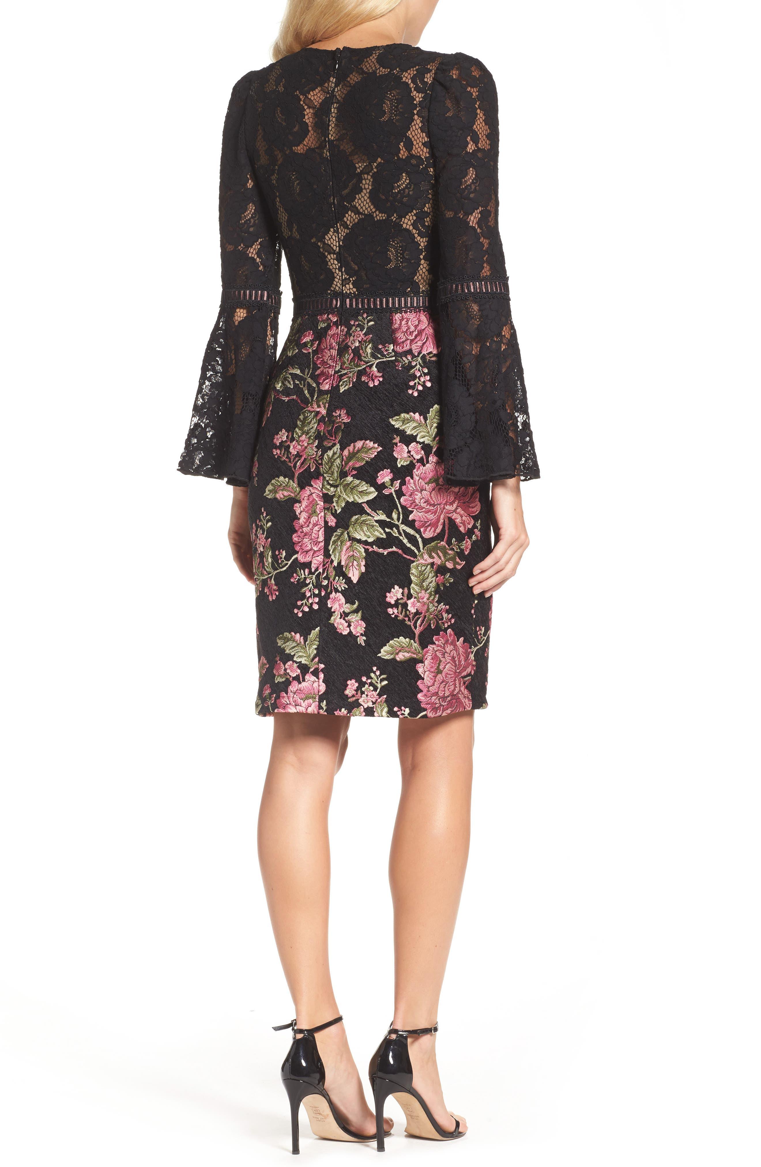 Lace & Brocade Sheath Dress,                             Alternate thumbnail 2, color,                             Black